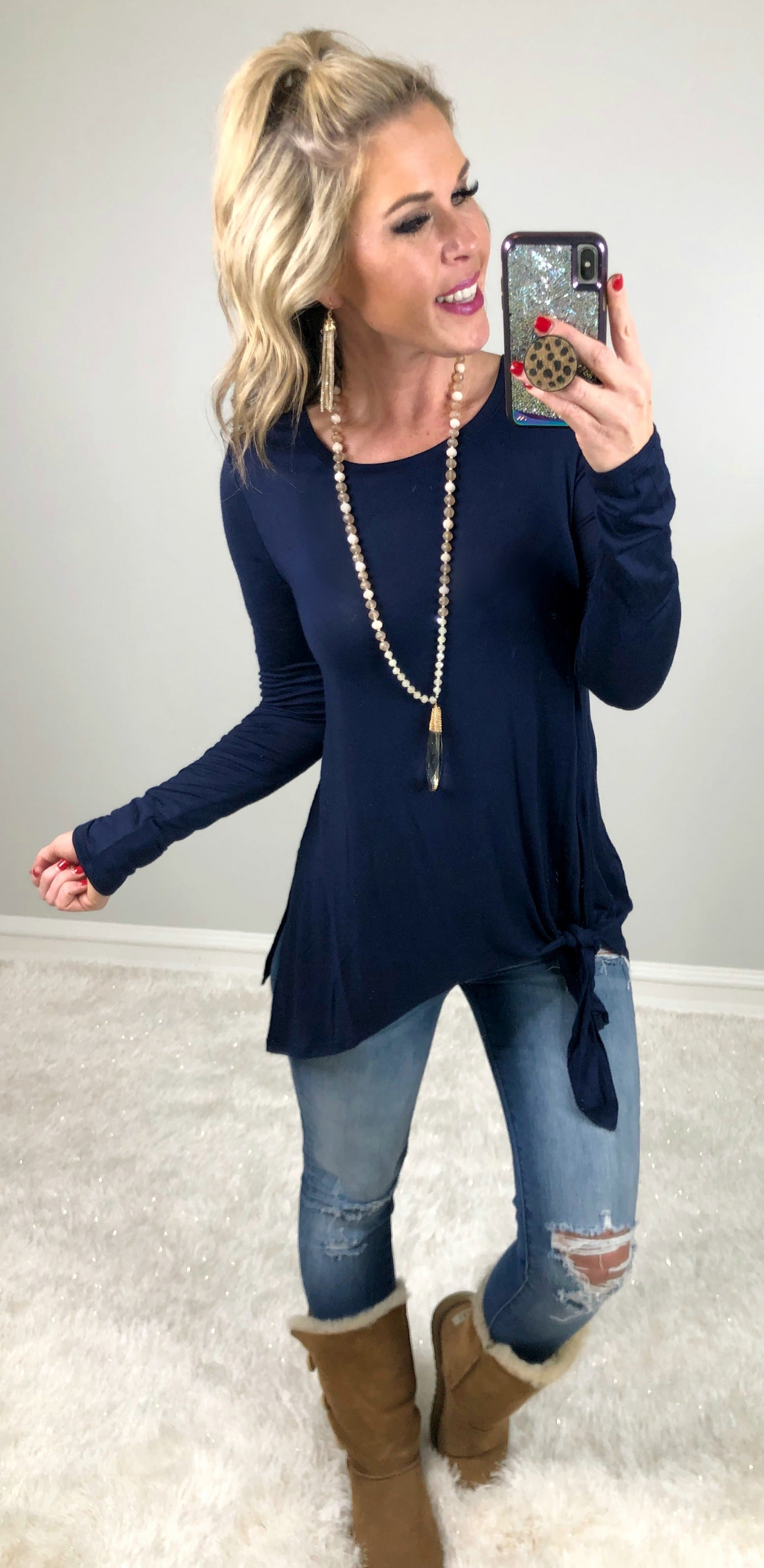 Forever Your Girl Tie Top: Navy
