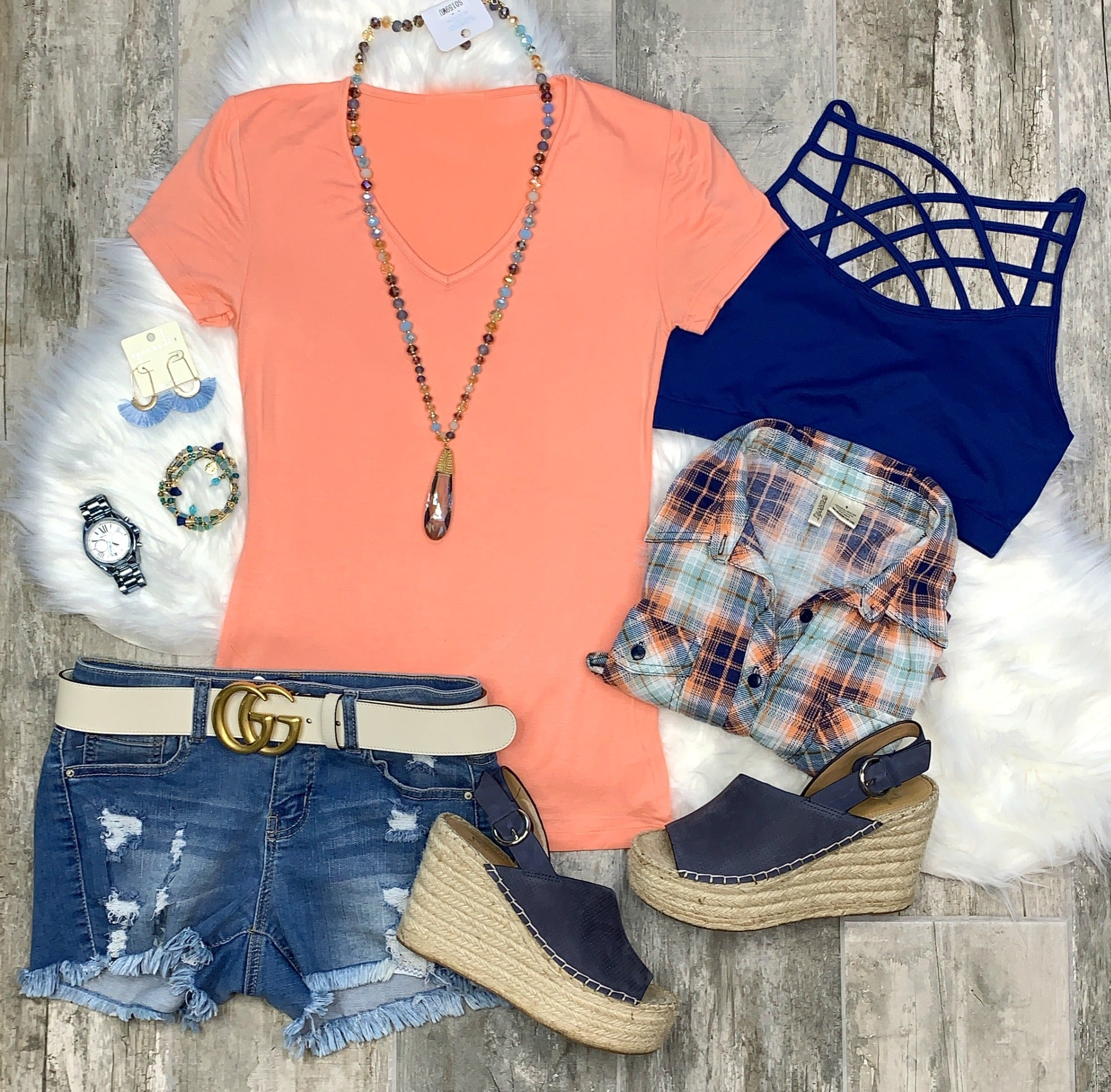 Basic V-Neck Tee: Peach