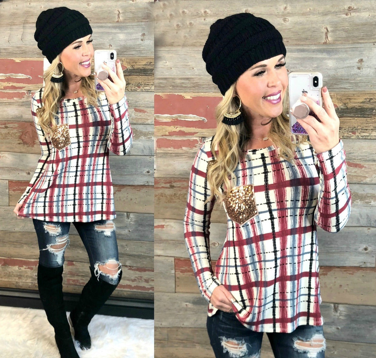 Time Together Sequin Pocket Long Sleeve Plaid Top: Burgundy