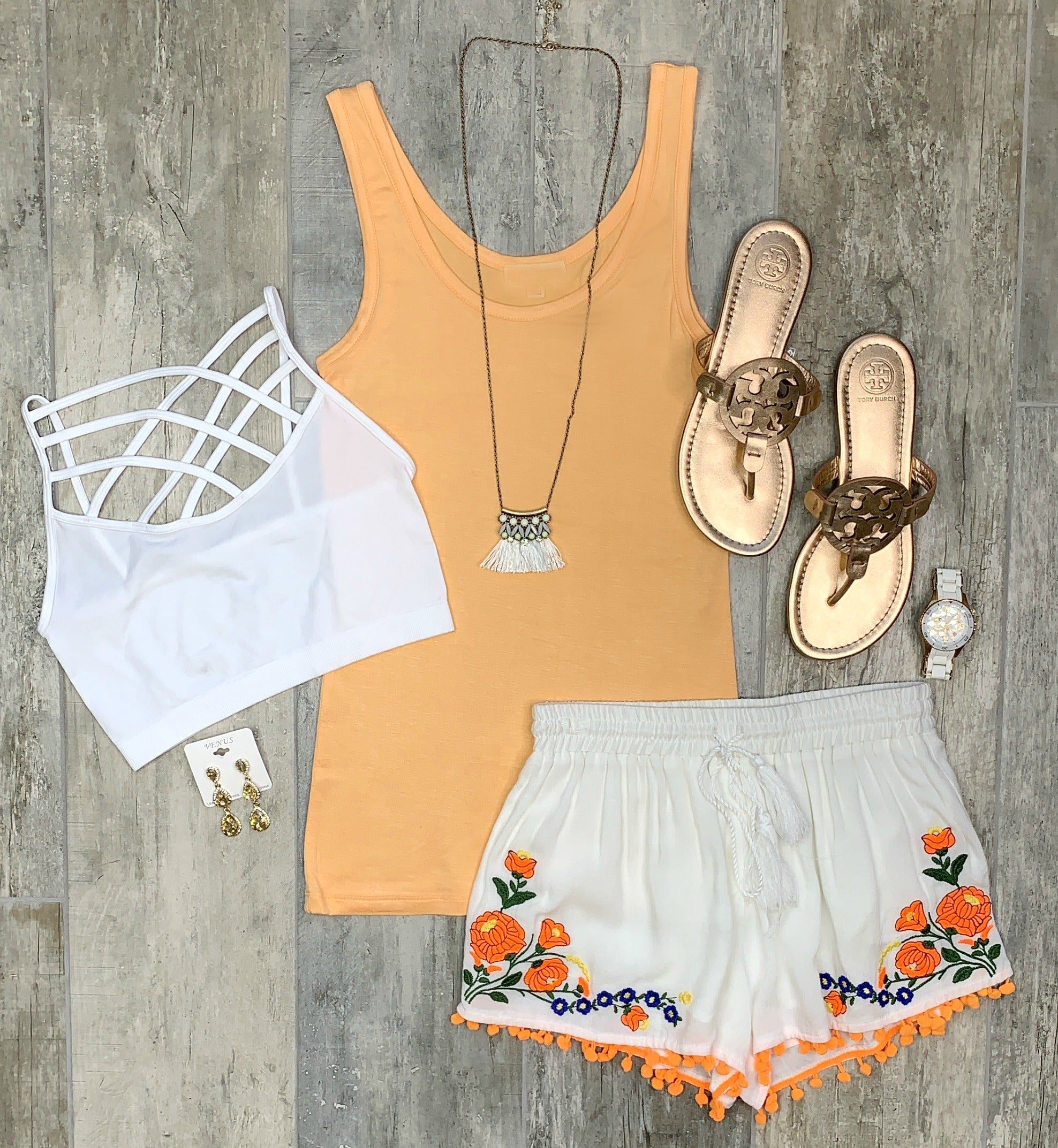 Show It Off White Floral Print Shorts