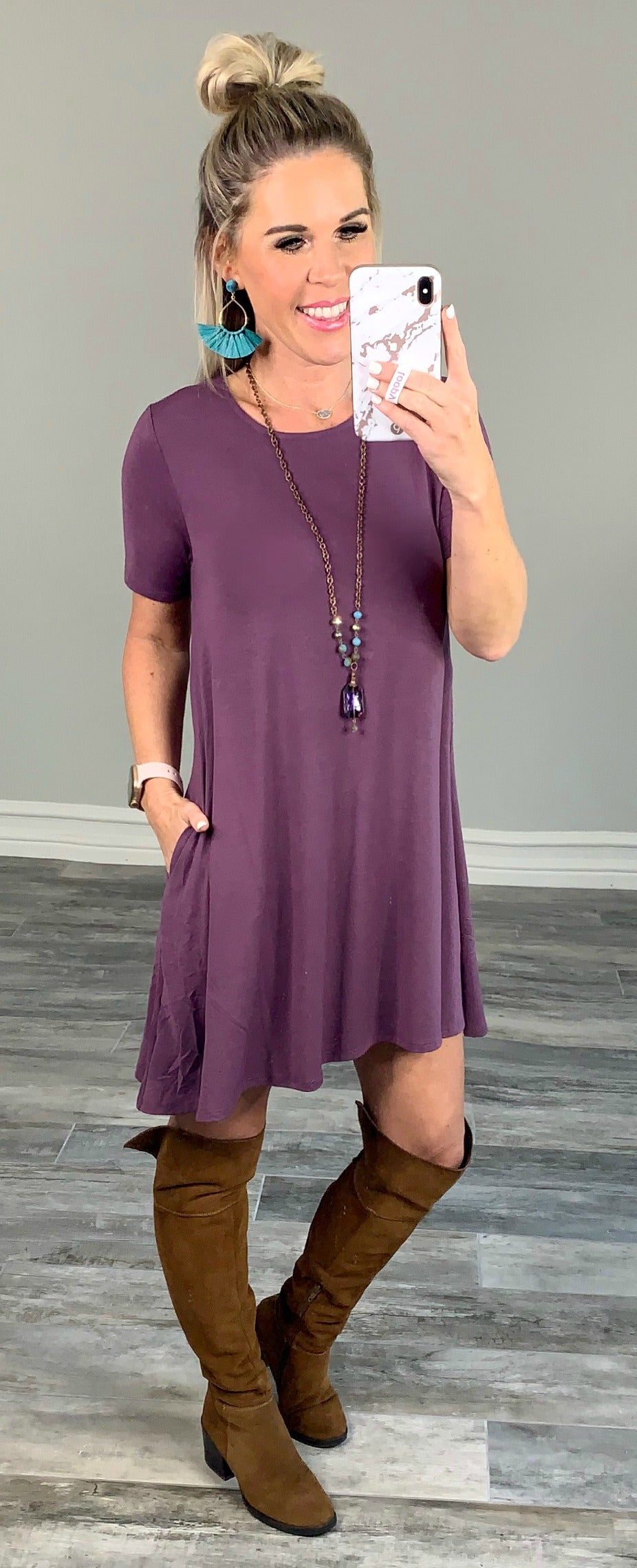 What You Deserve Eggplant T-Shirt Dress