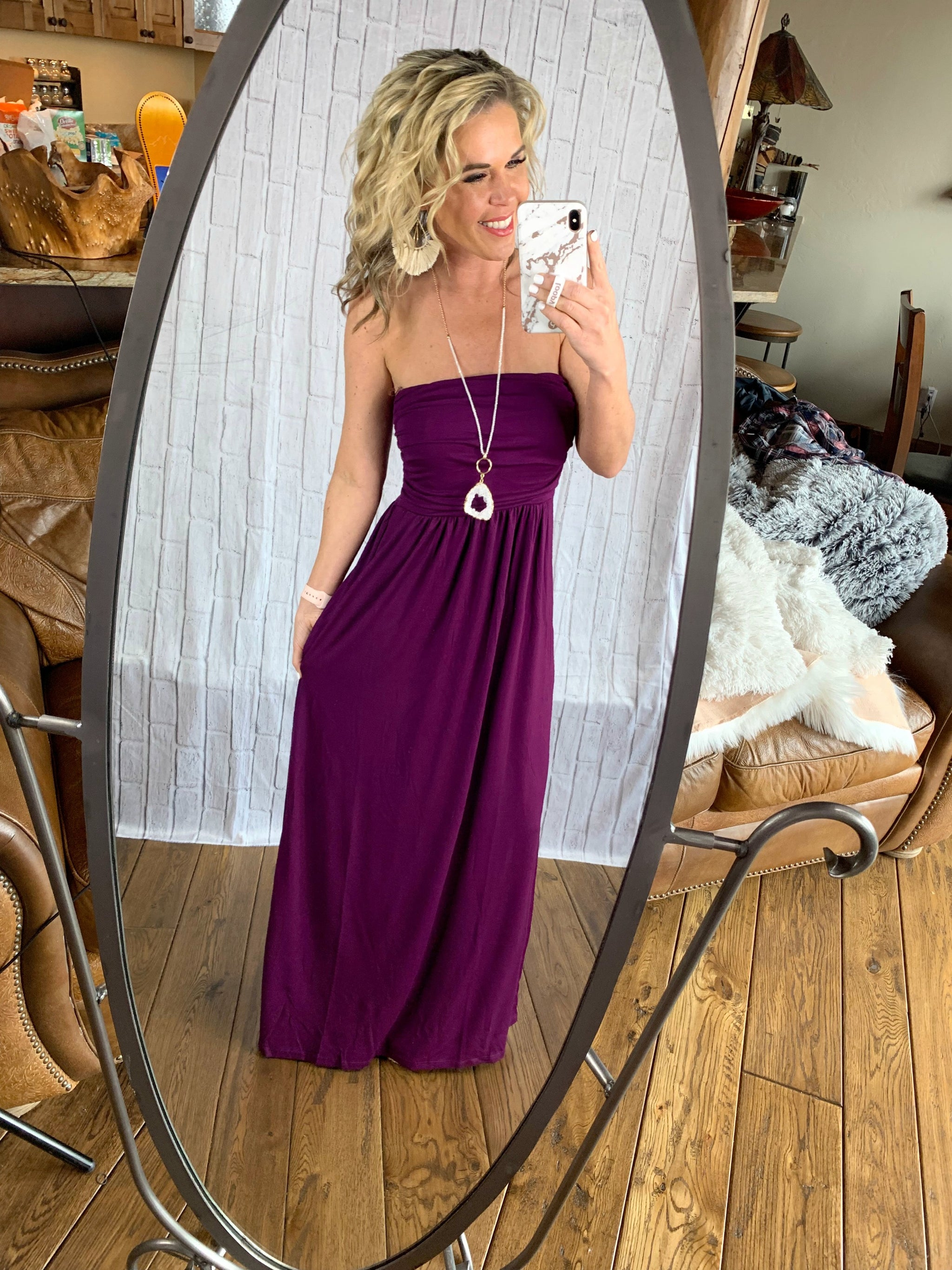 Your so Classic Pocket Maxi Dress: Plum