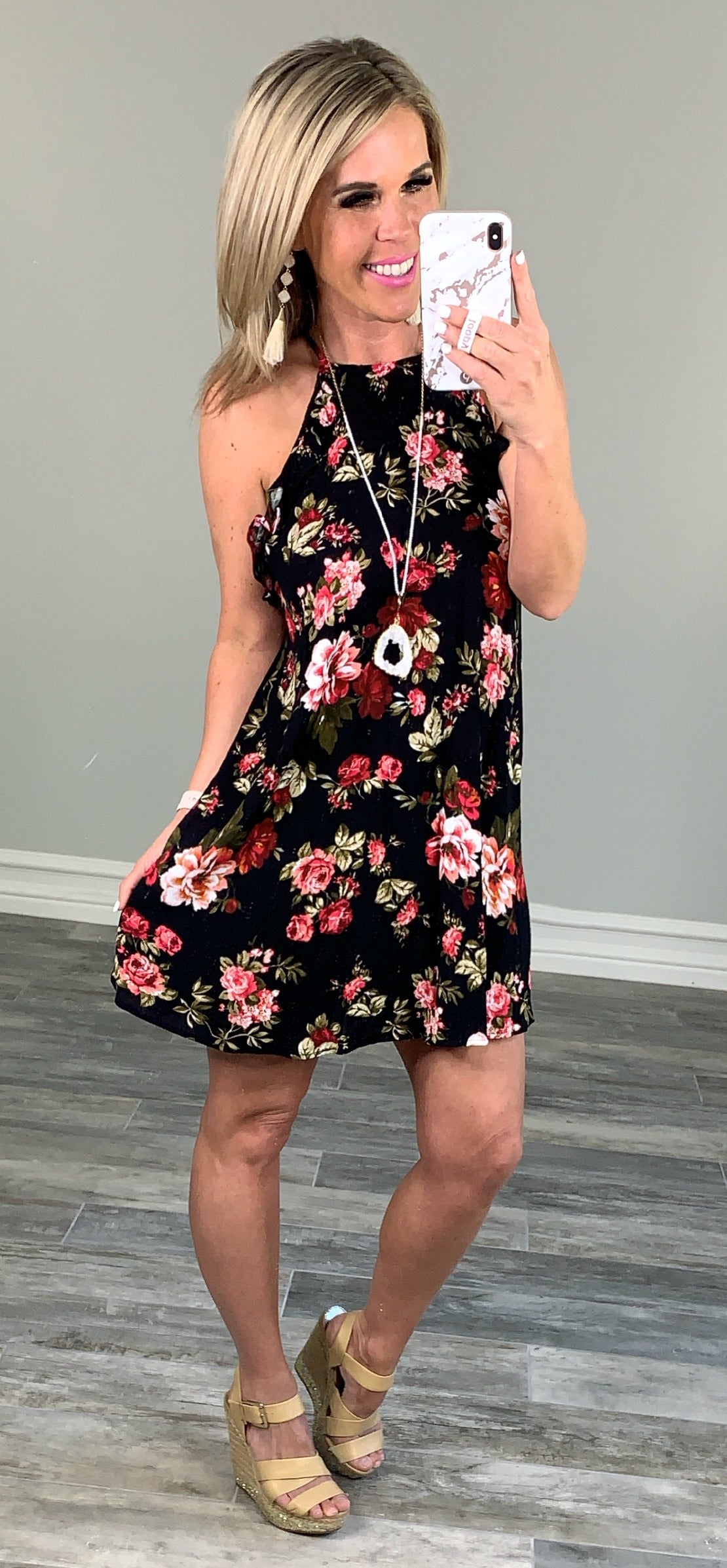 Day Dreaming Floral Dress - Black