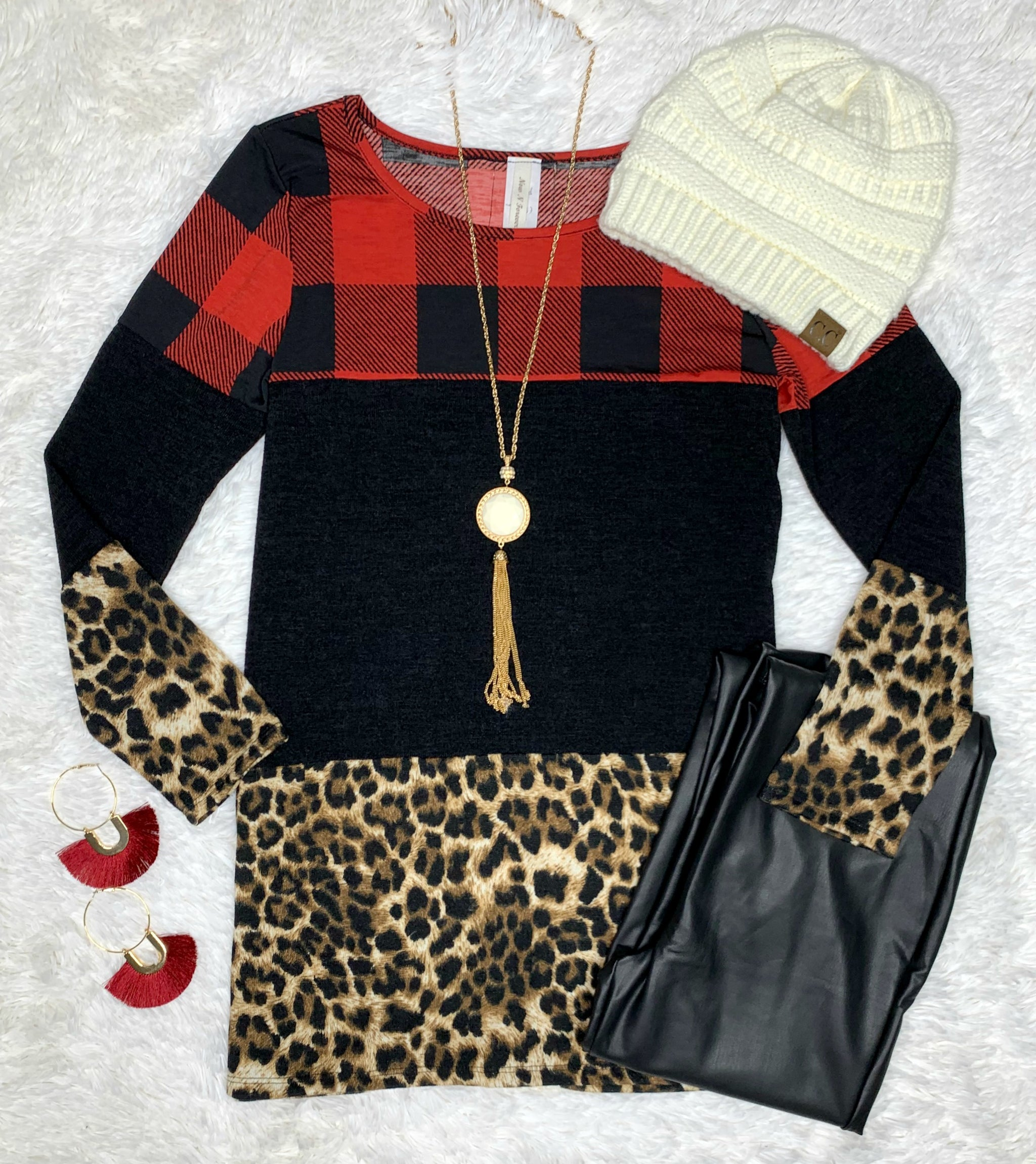Buffalo Plaid Leopard Lace Back Top