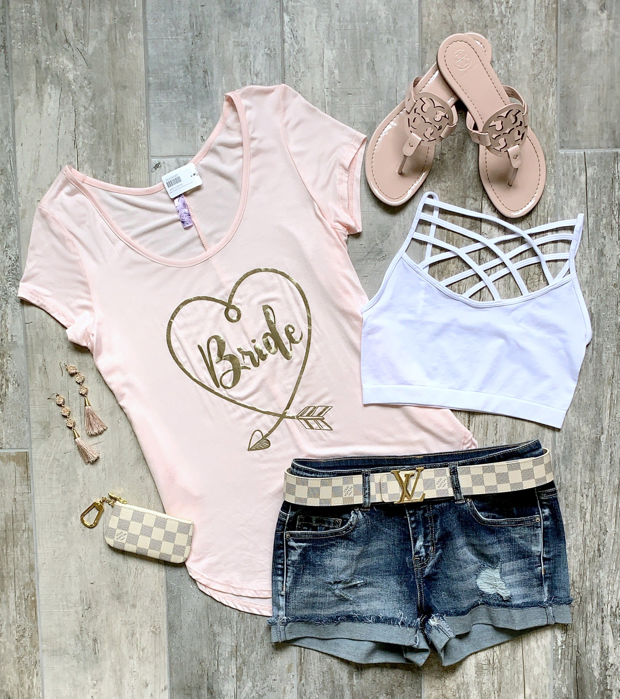 Gold Heart Bride Short Sleeve Graphic Tee: Blush