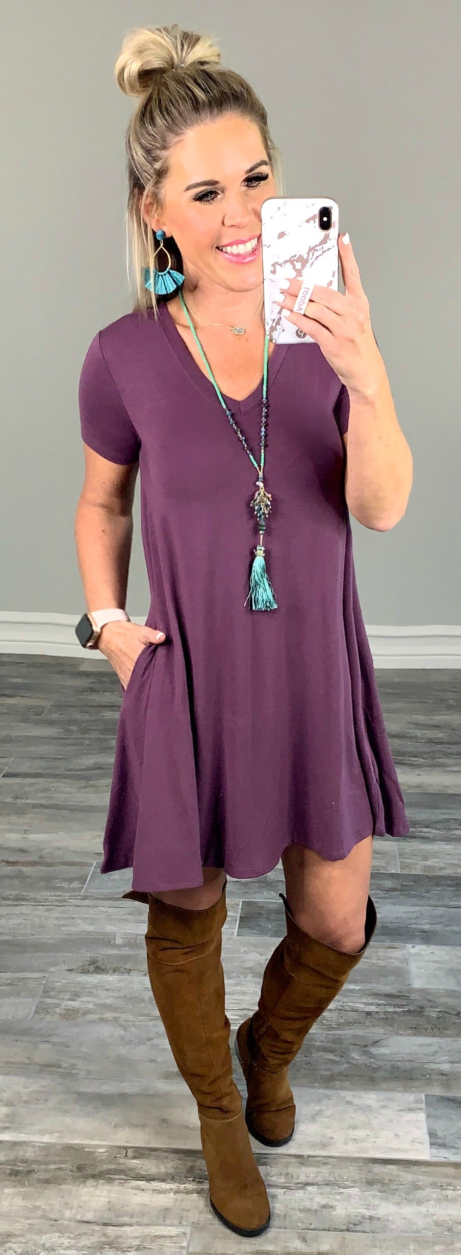 Call Me Up Dress Eggplant