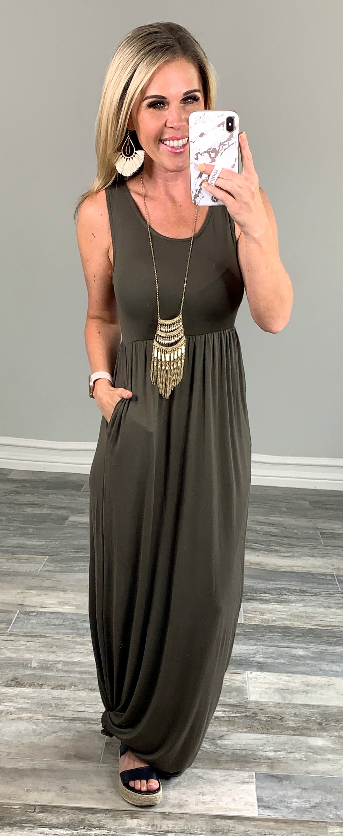 I'll Be By the Pool Maxi Dress - Olive