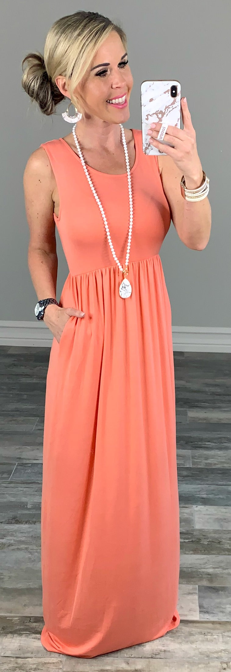 I'll Be By the Pool Maxi Dress - Coral