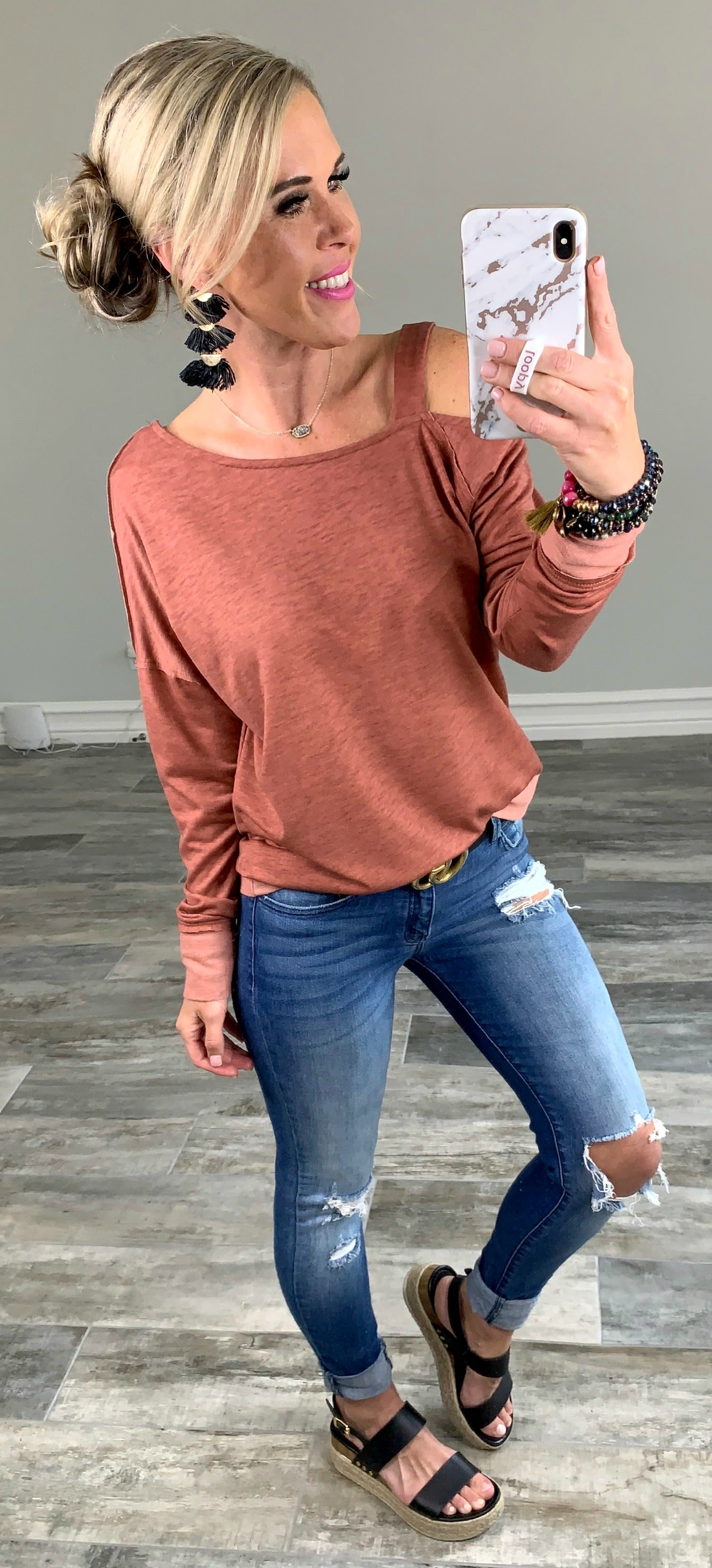 Let's Bend the Rules Rust Blouse