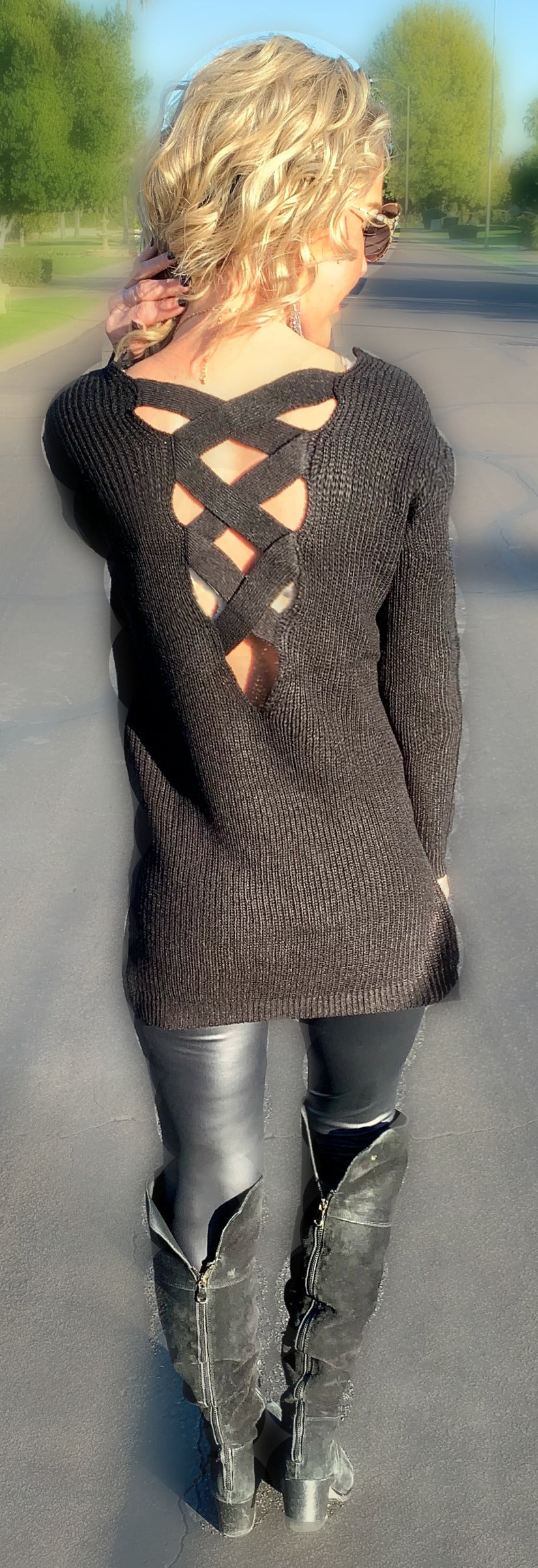 Open Criss Cross Back Sweater - Black