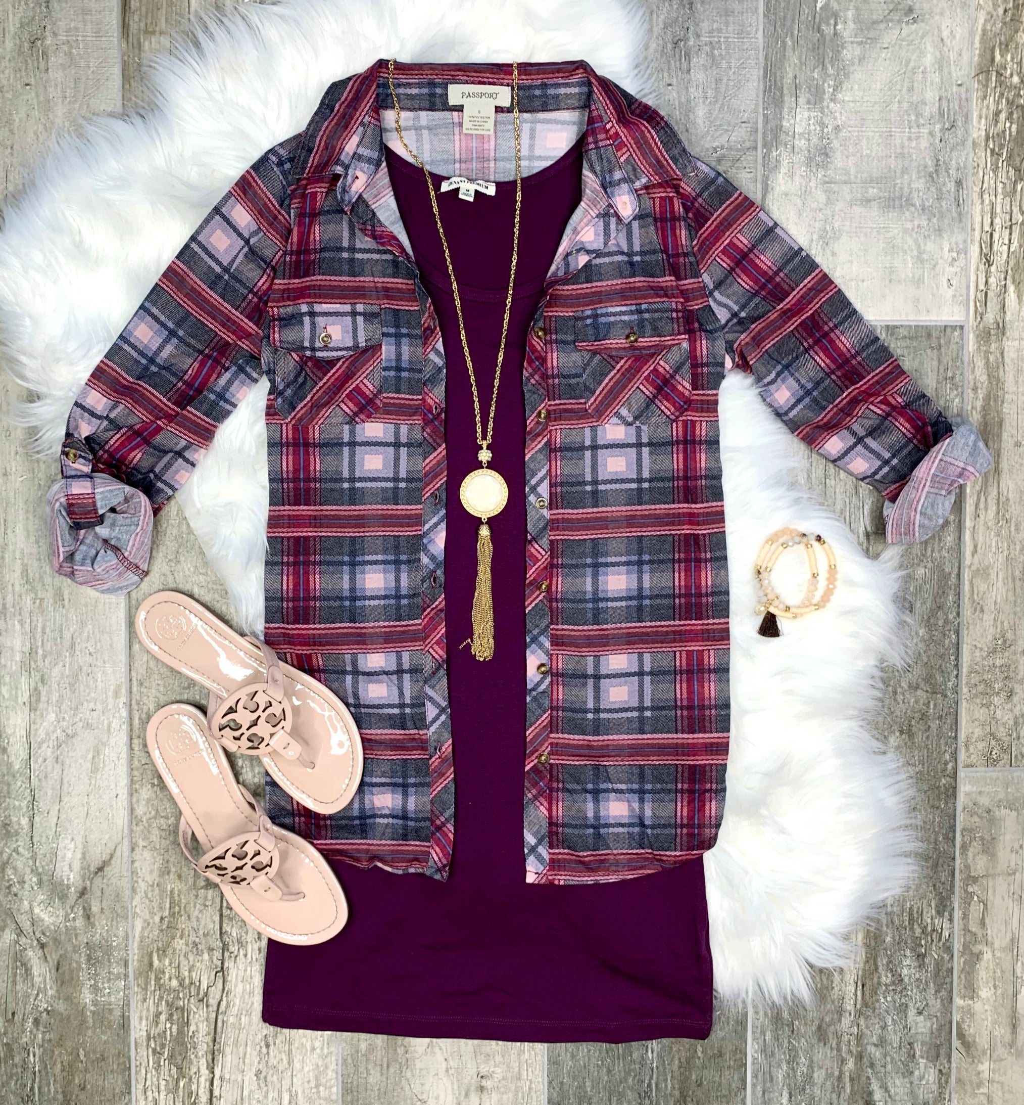 Penny Plaid Flannel Top - Berry/Blush