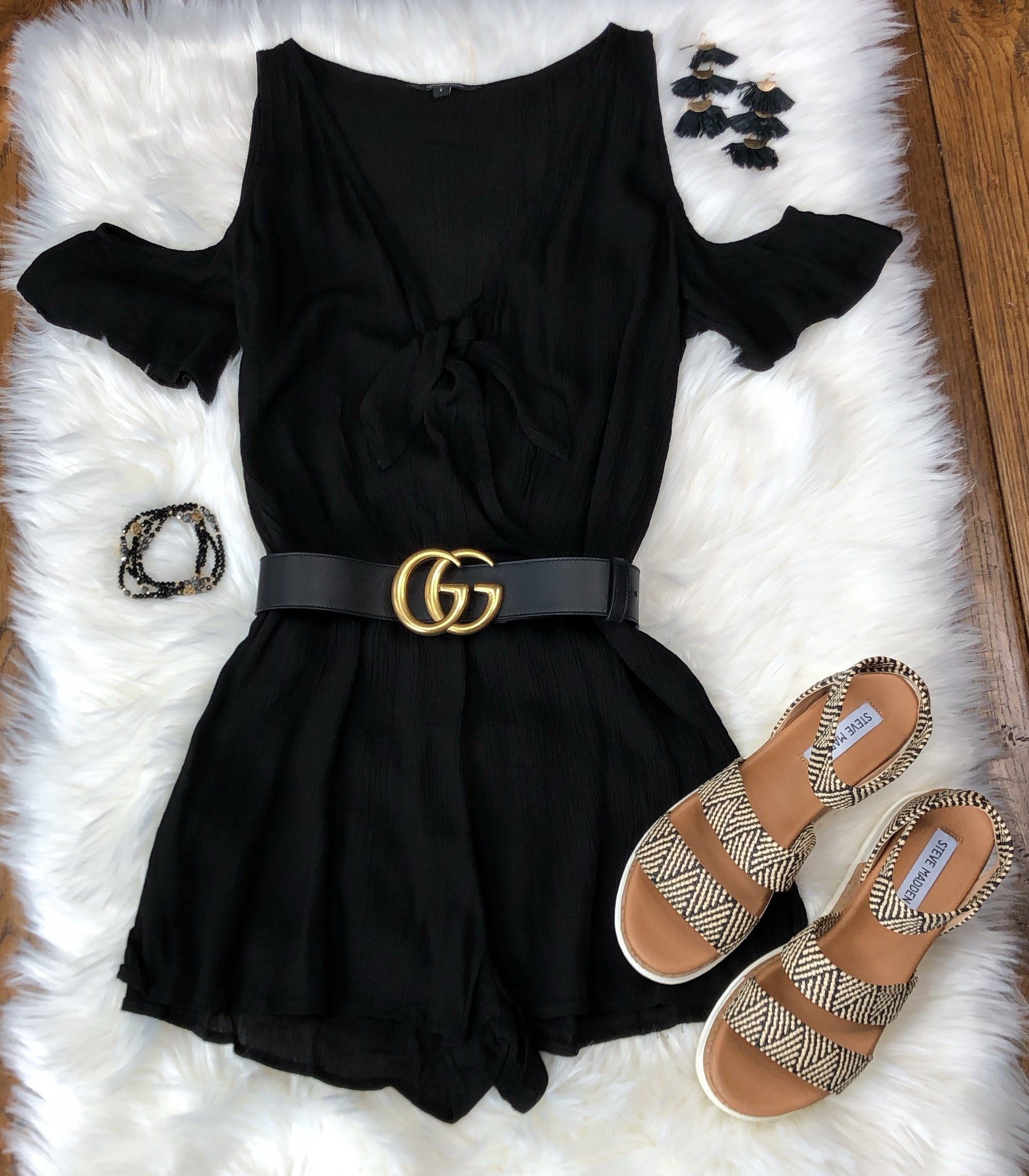Surely Summer Black Romper