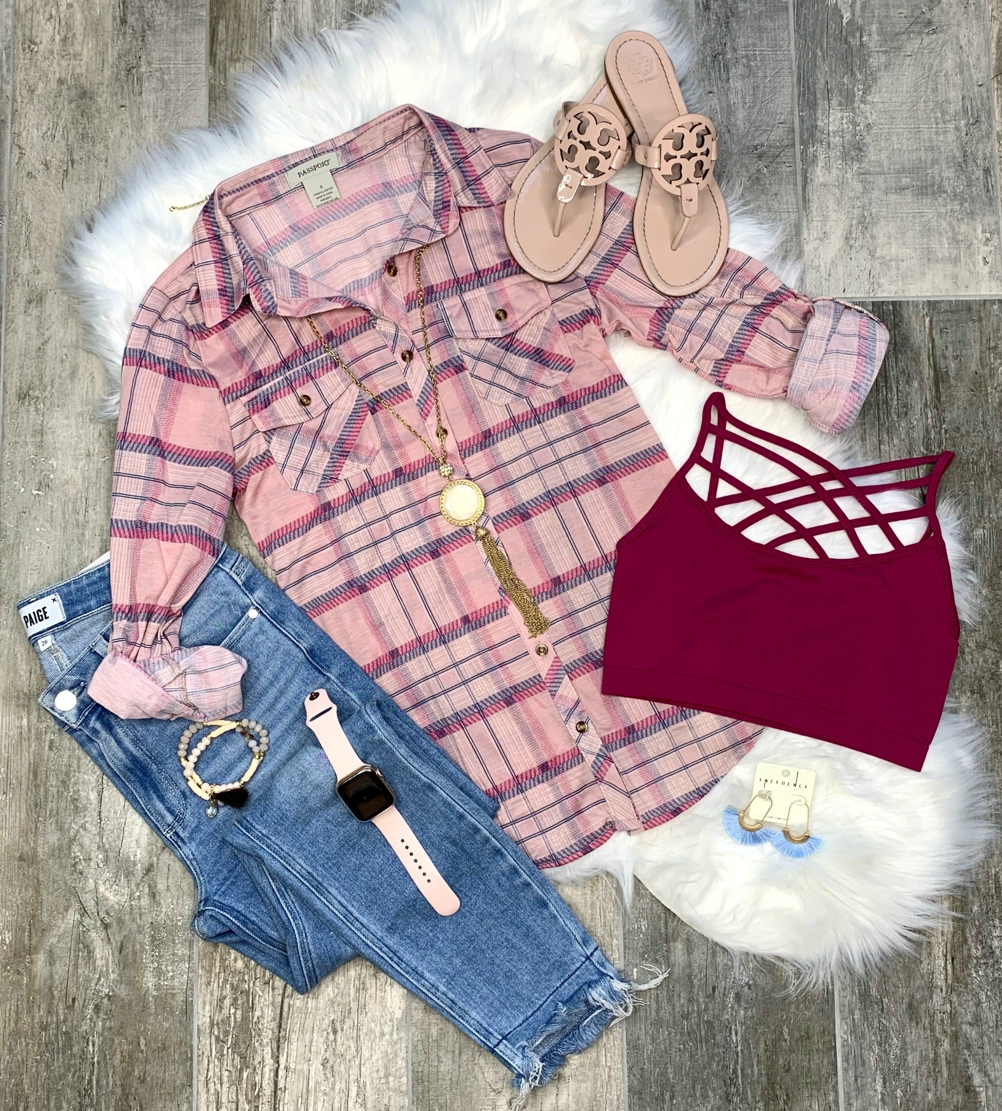 Penny Plaid Flannel Top - Blush/Cabernet
