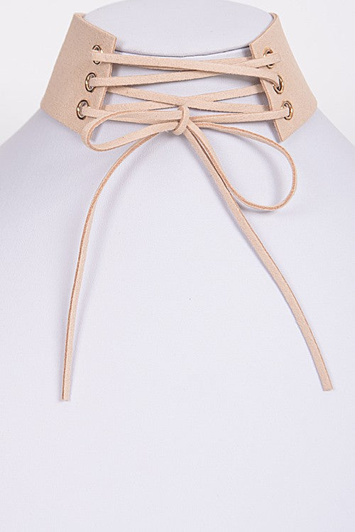Lace Up Choker: Beige