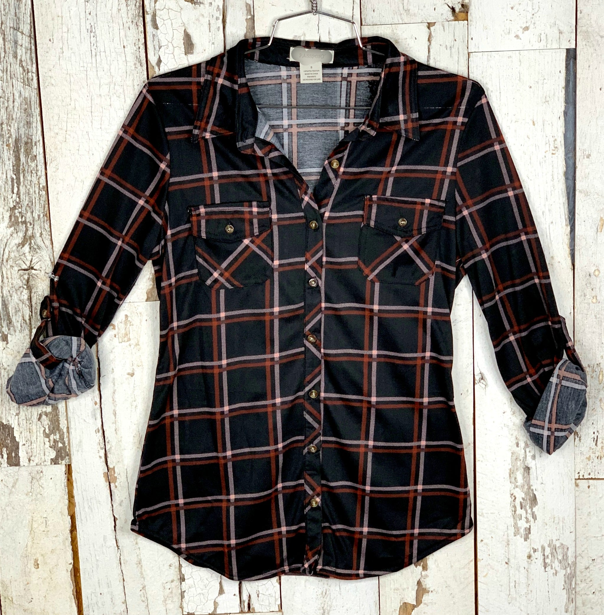 Penny Plaid Flannel Top - Black Poppy