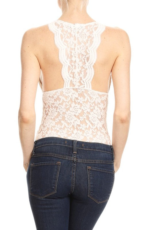 Little Bit of Lace Bodysuit: Sage