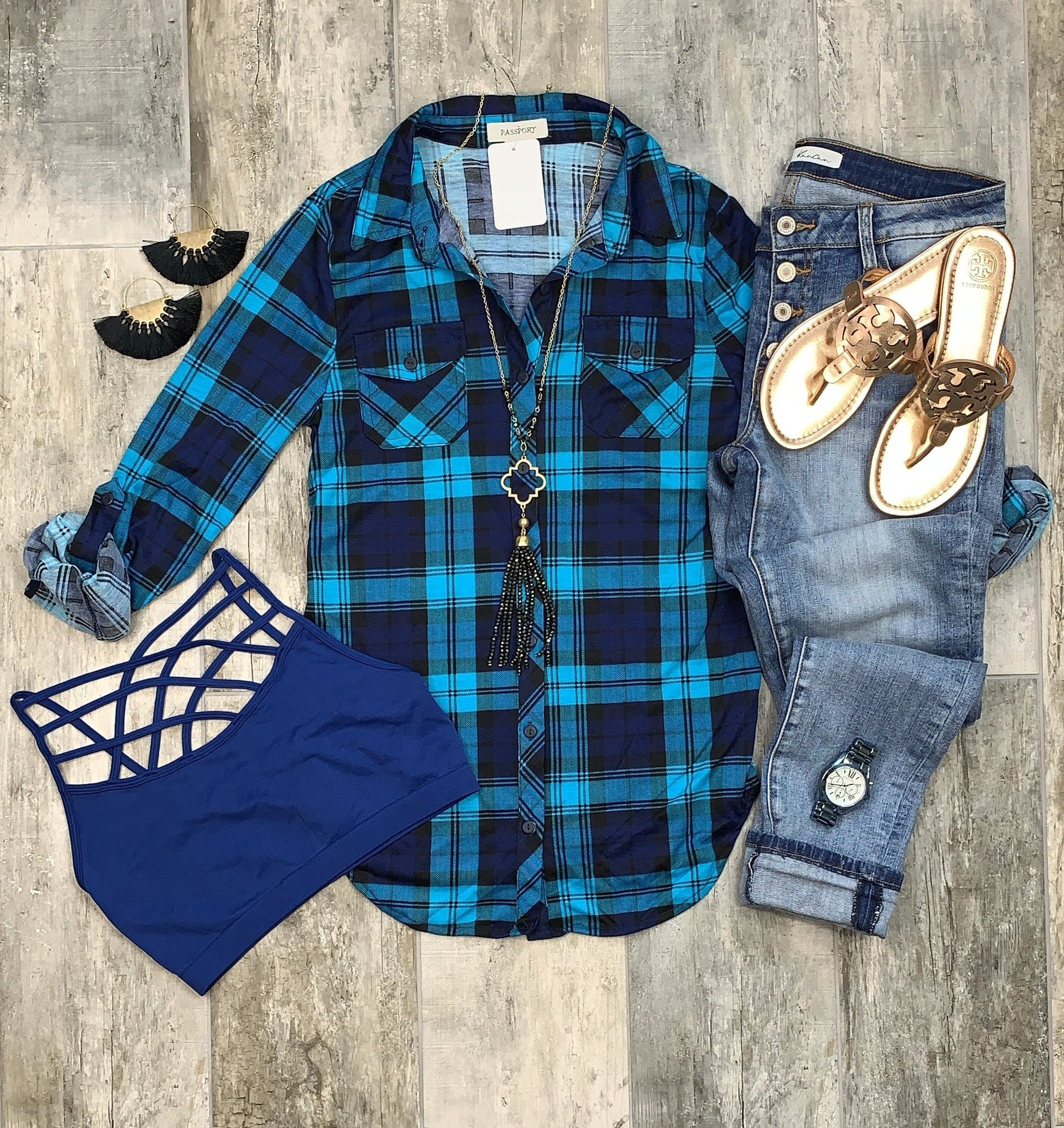 Penny Plaid Flannel Top: Navy/Teal
