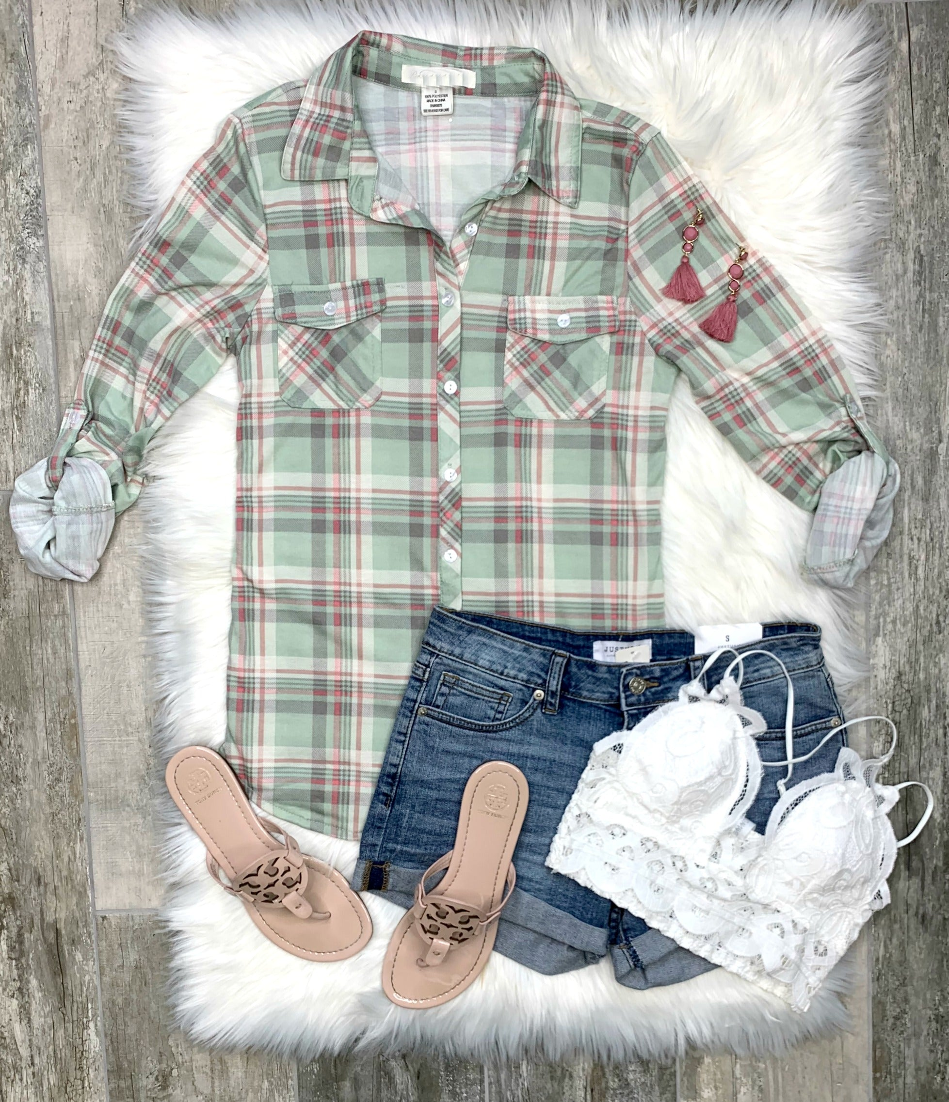 Penny Plaid Flannel Top - Sage/Pink