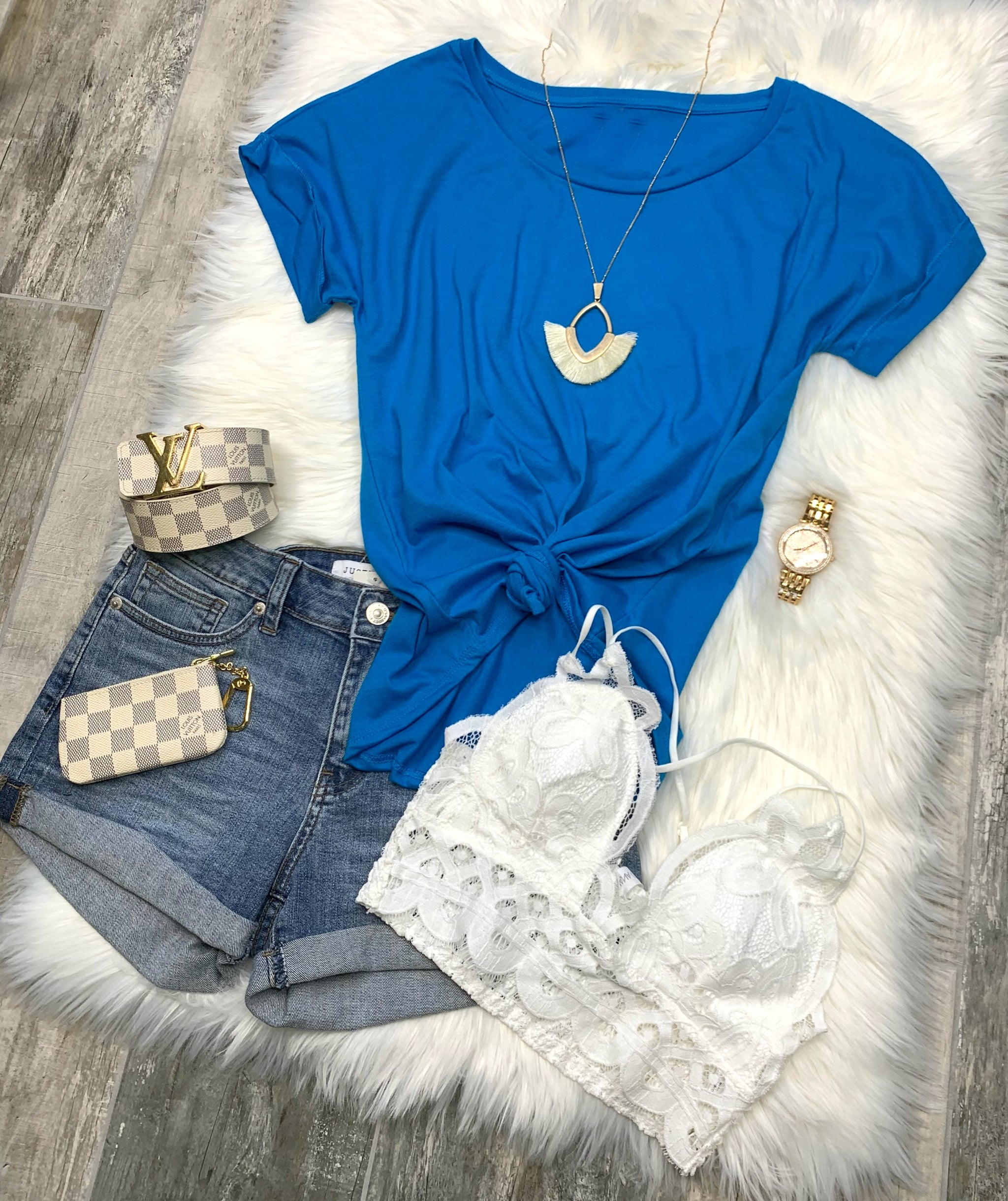 Practically Perfect Rolled Sleeve Tee - Blue