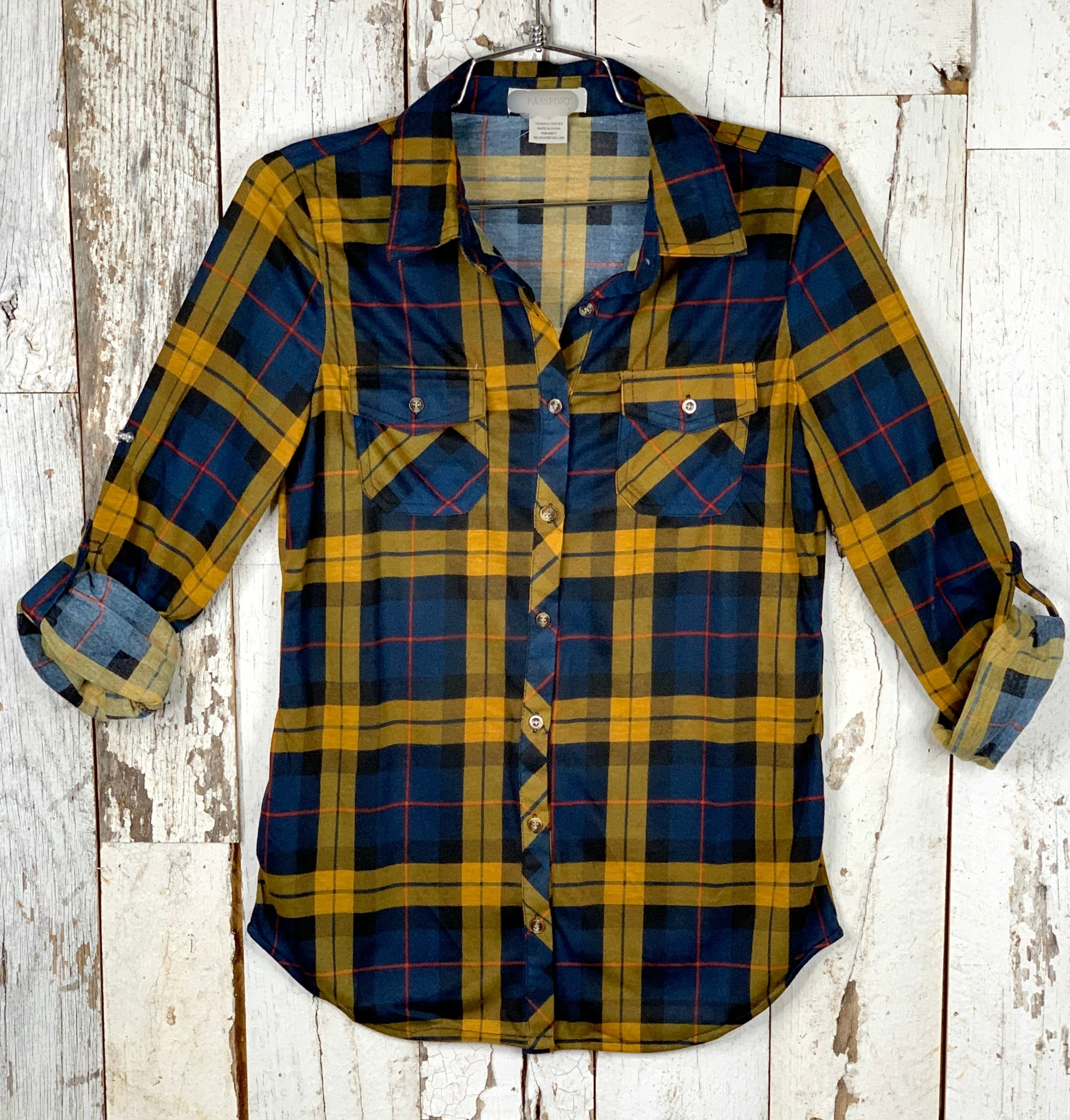 Penny Plaid Flannel Top - Navy/Mustard