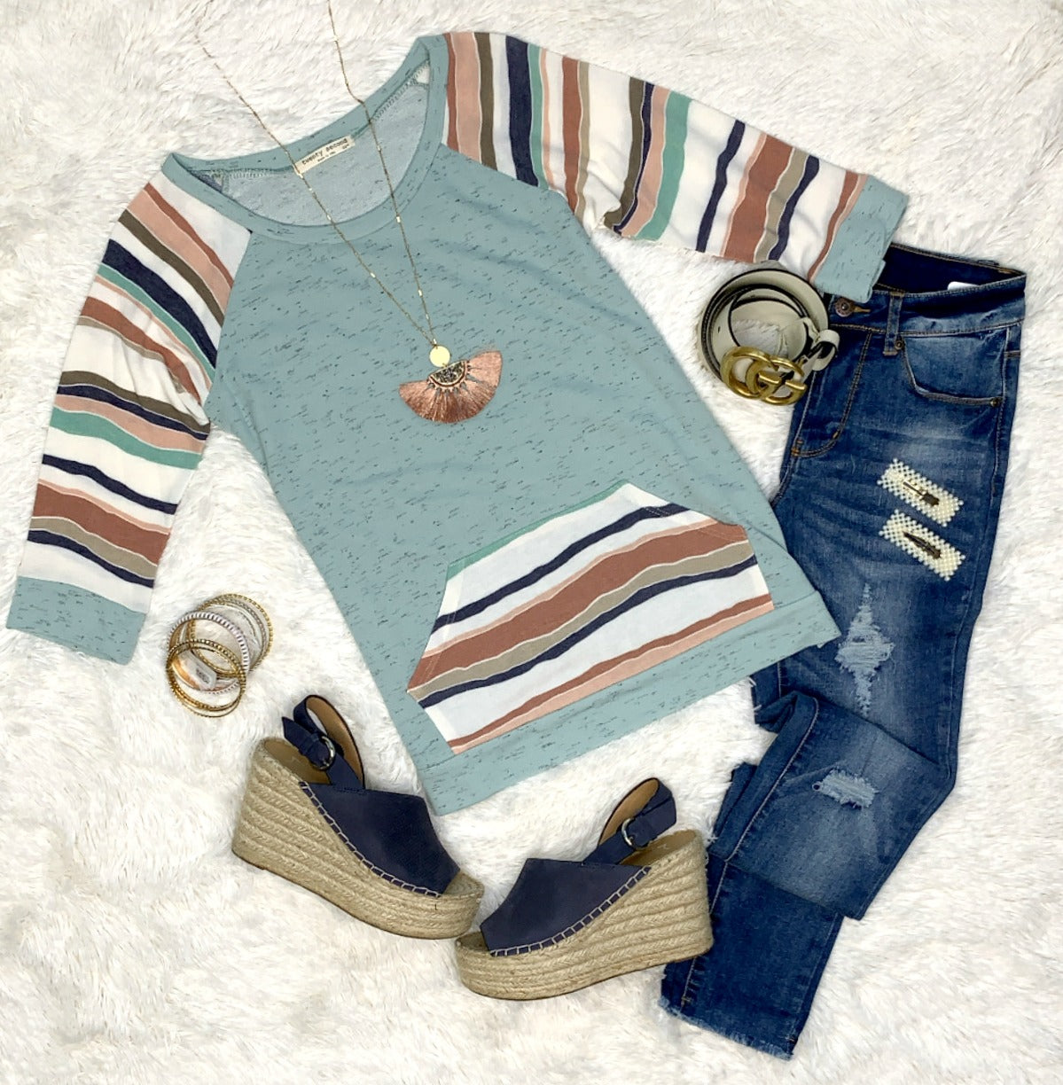 Striped Pocket Front Top