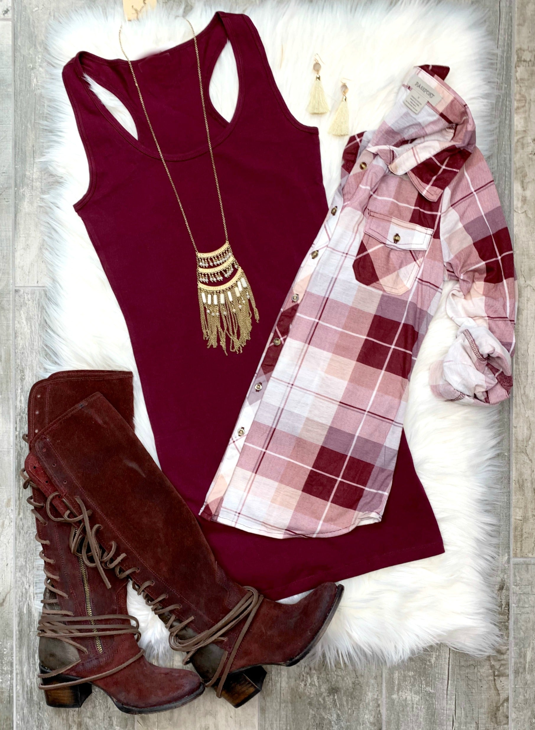 Basic Tank Dress: Burgundy