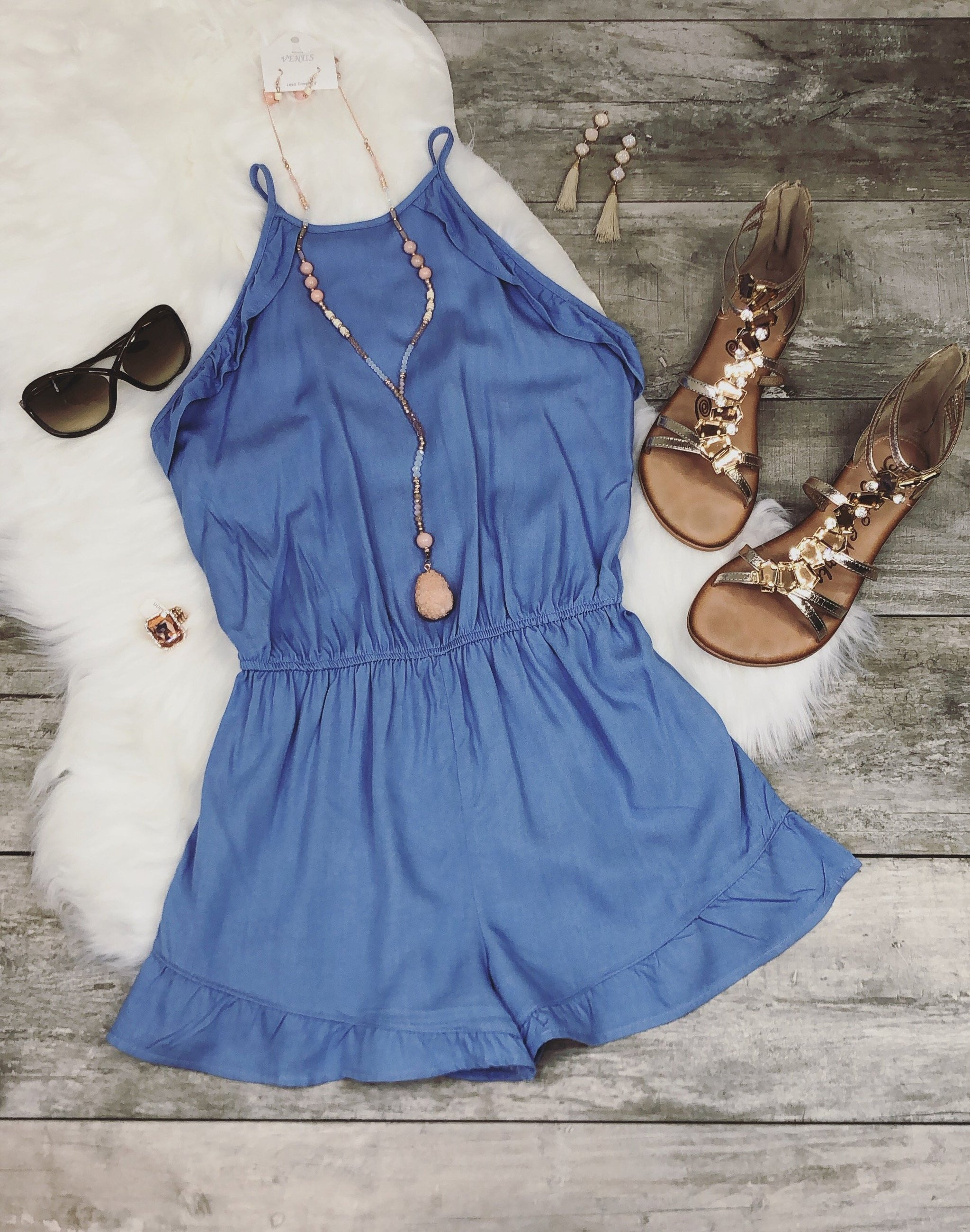 Oh So Heavenly Romper: Chambray