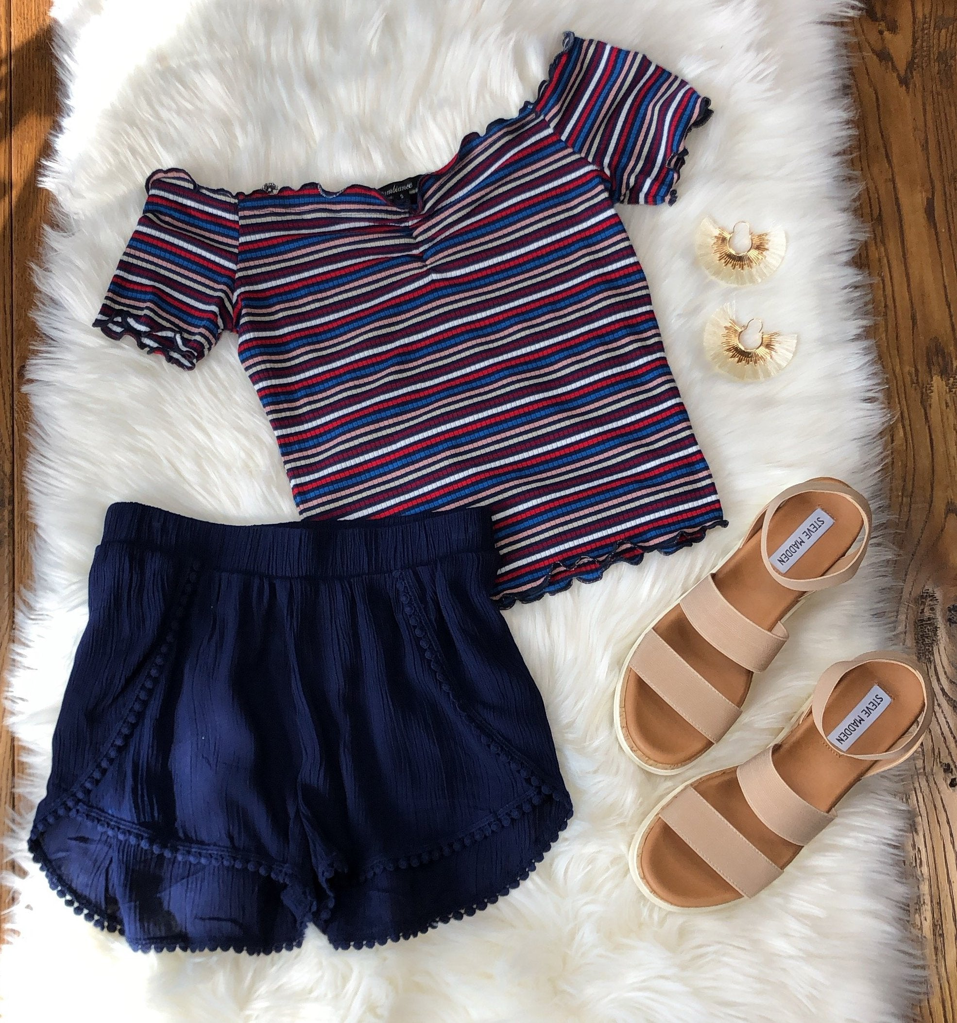 Striped Off the Shoulder Crop Top