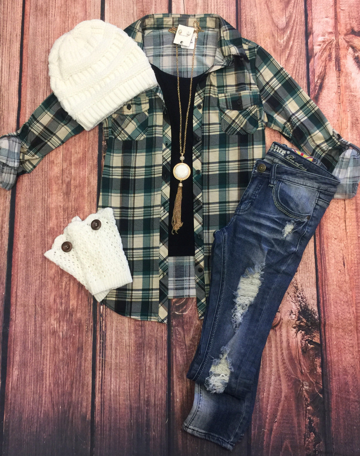 Penny Plaid Flannel Top: Ivory/Brown