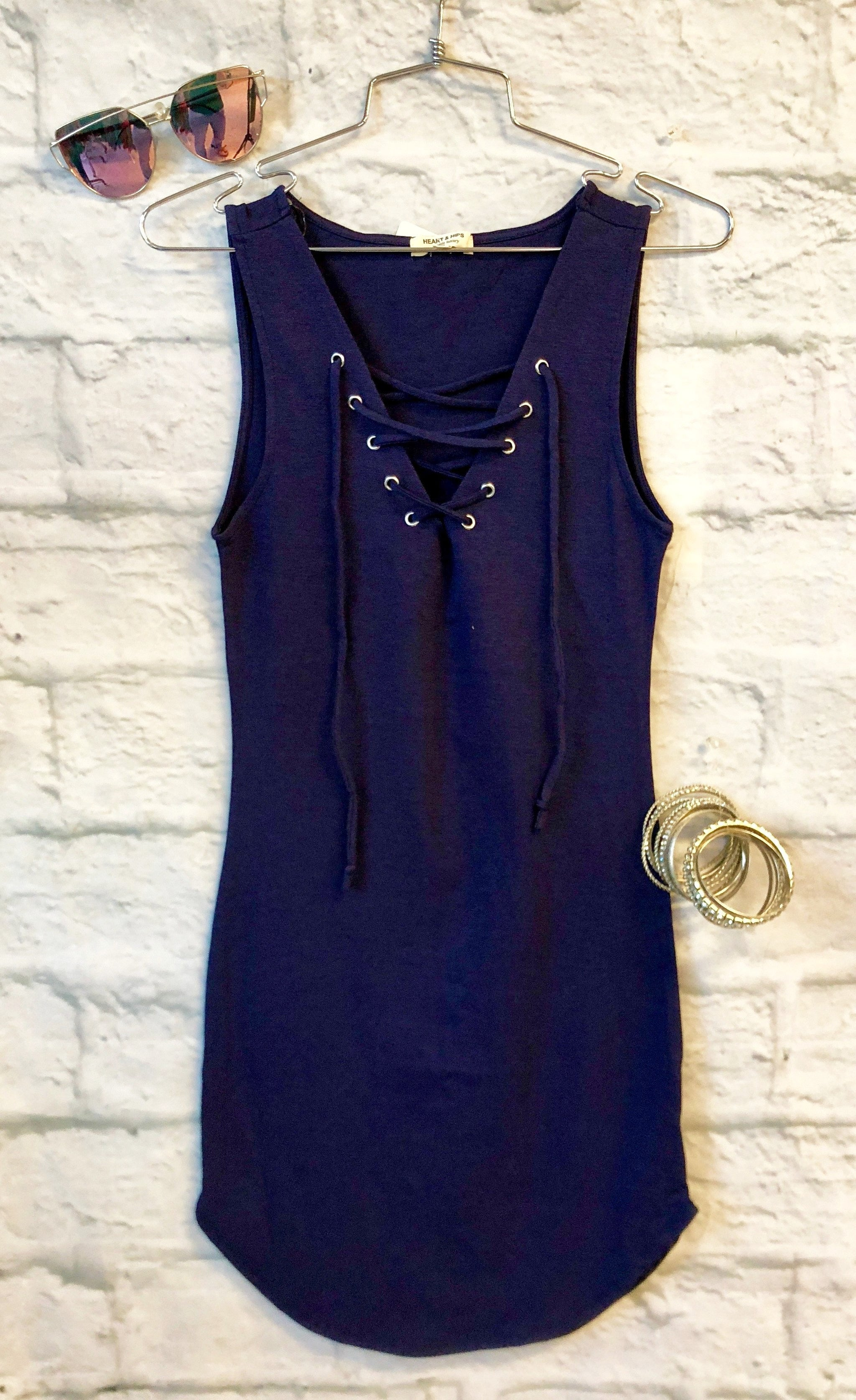 Fun in the Sun Tie Tank Dress: Navy