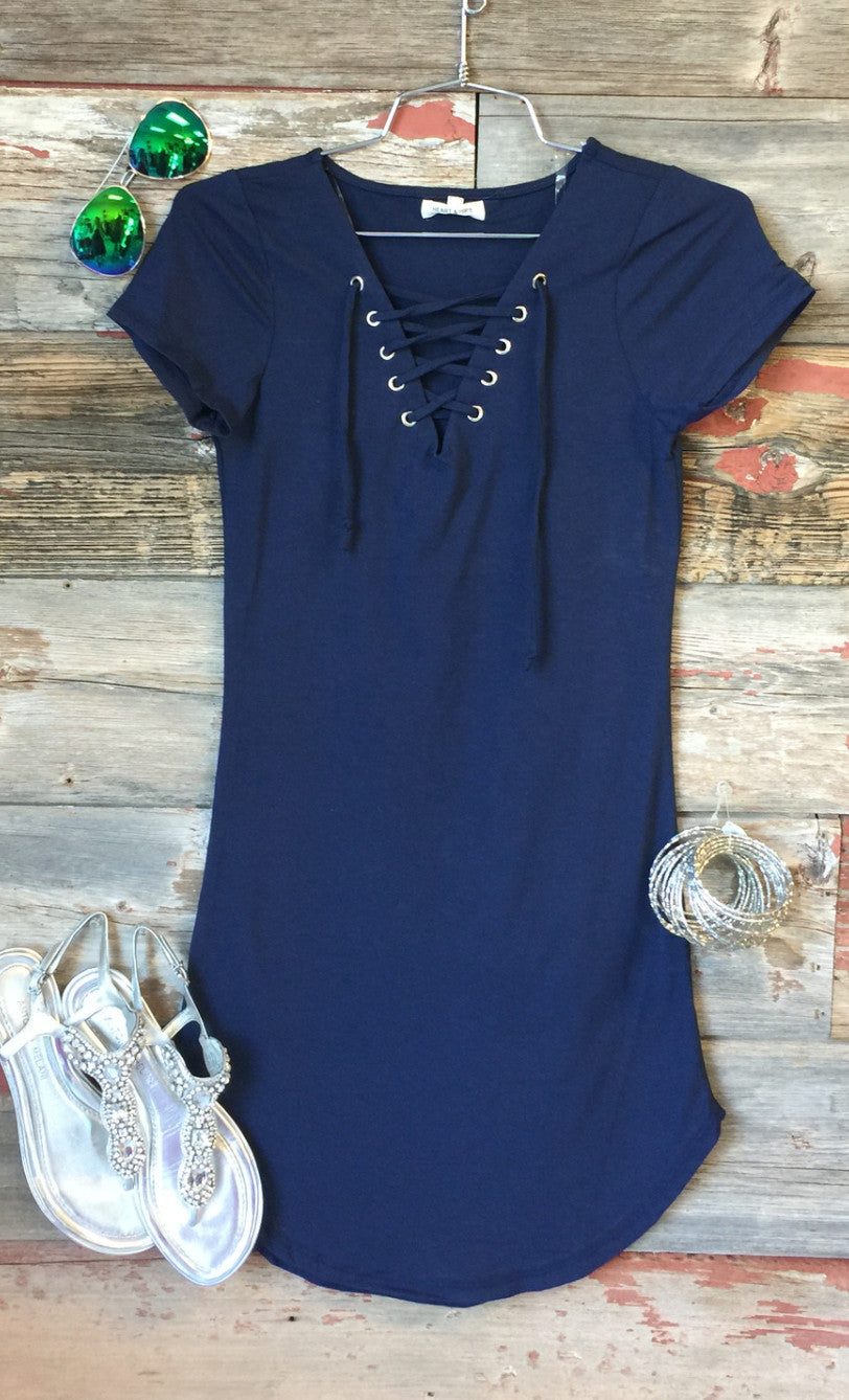 Fun in the Sun Tie Dress: Navy