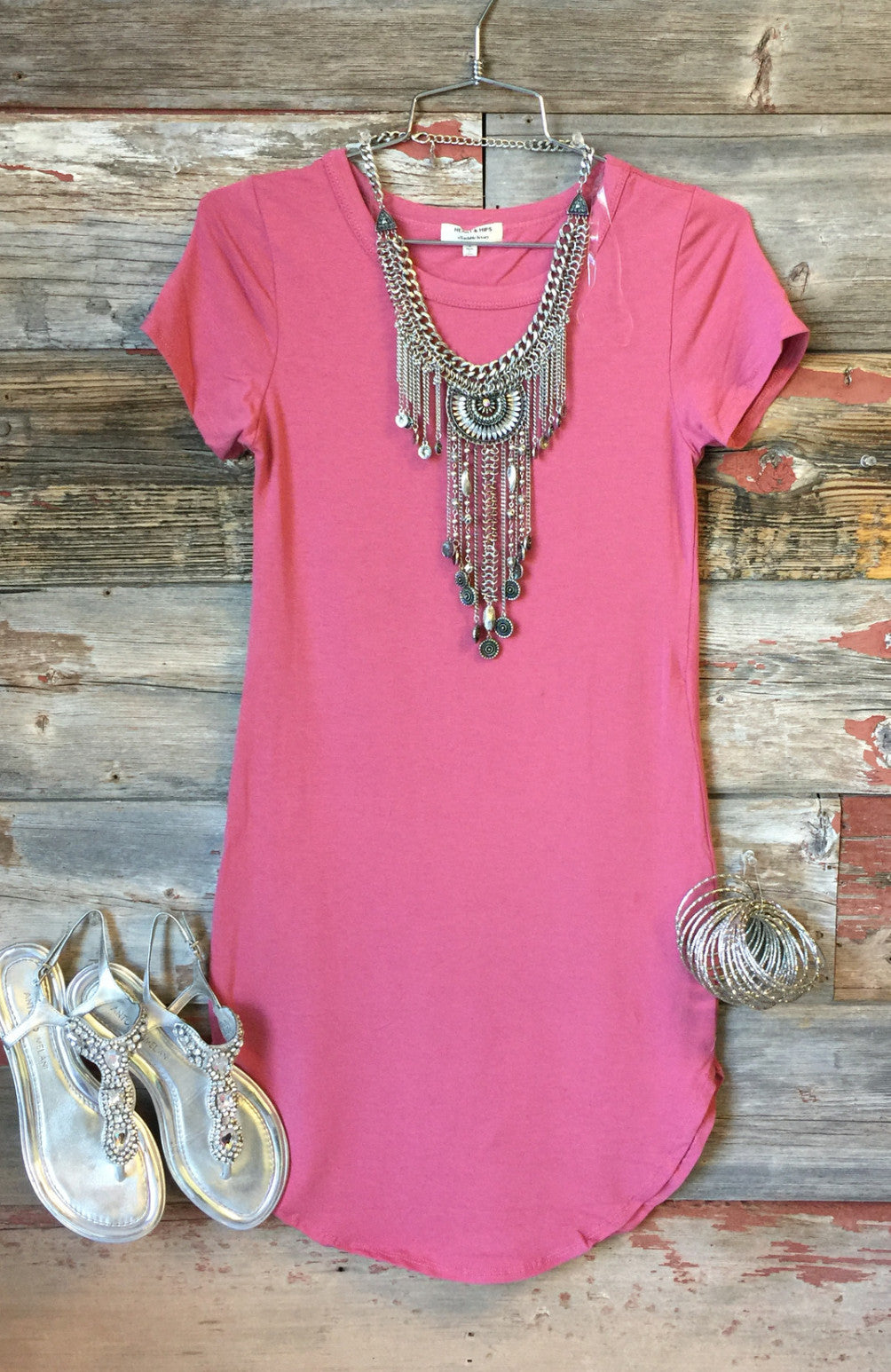 Fun in the Sun Tunic Dress: Pomegranate