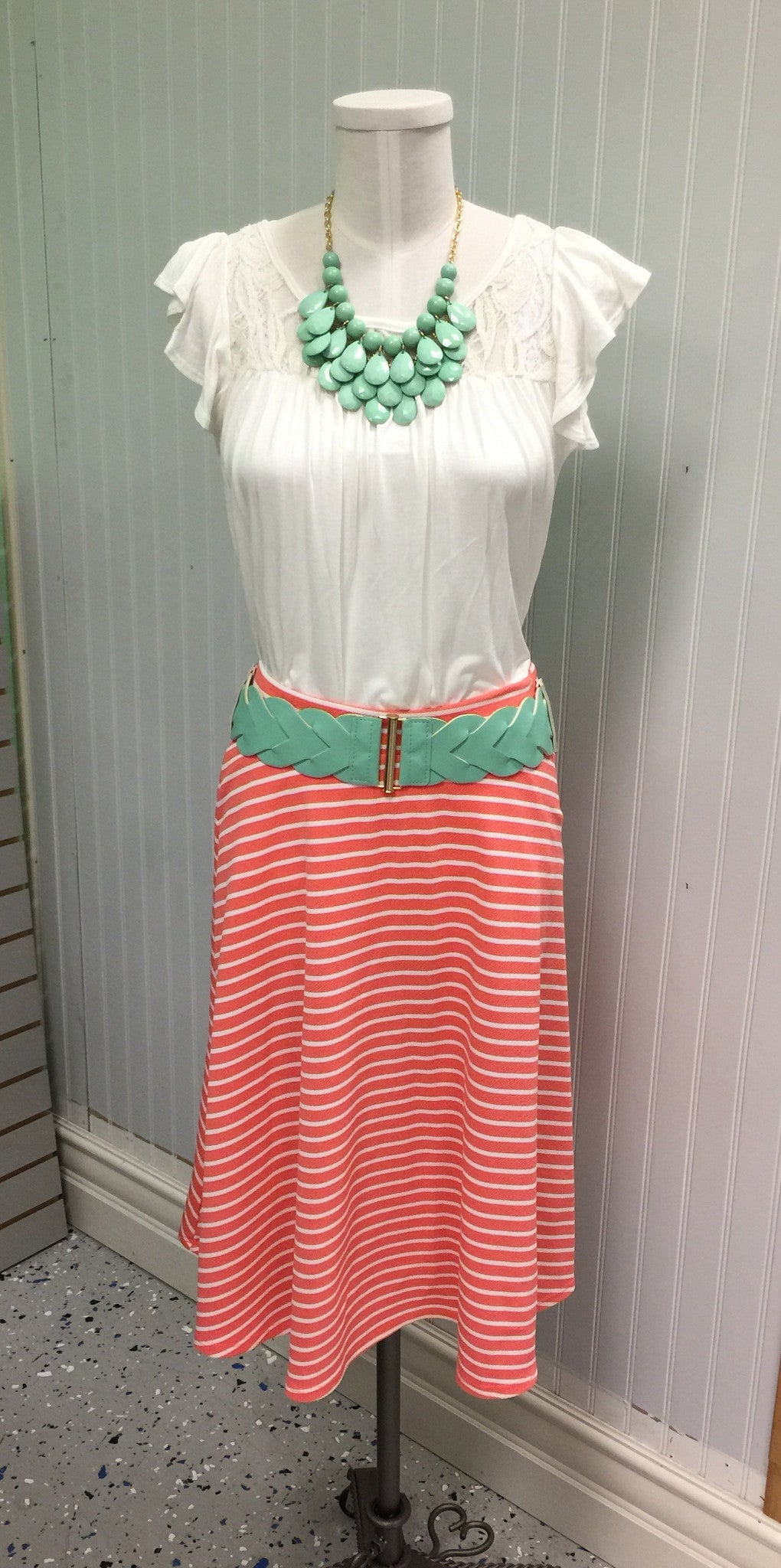 Striped Mid Length Skirt: Coral