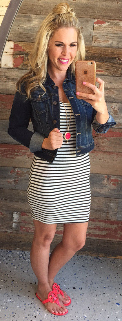 Ribbed Striped Dress: White