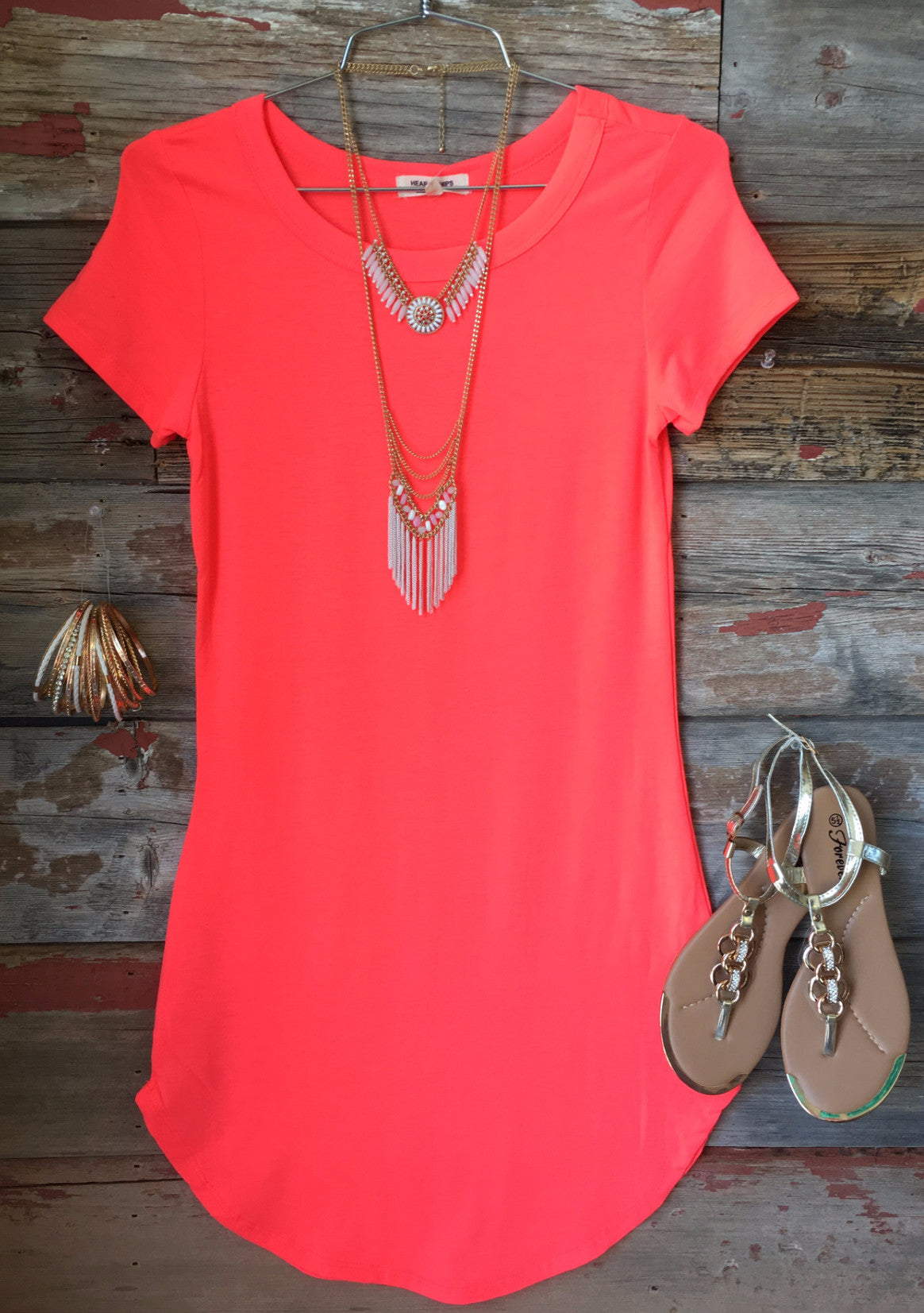 Fun in the Sun Tunic Dress: Neon Coral