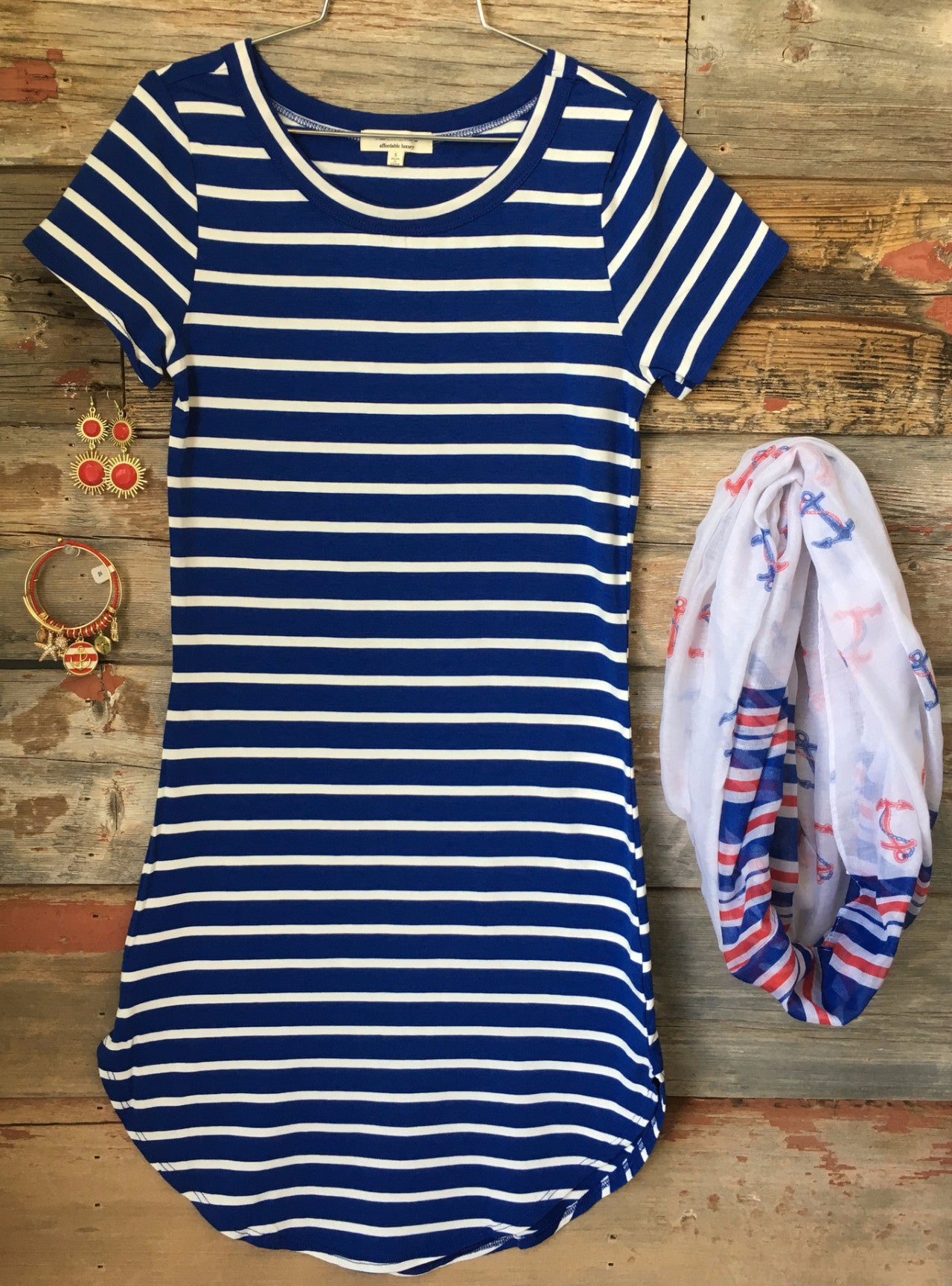 On the Horizon Tunic Dress: Royal Blue