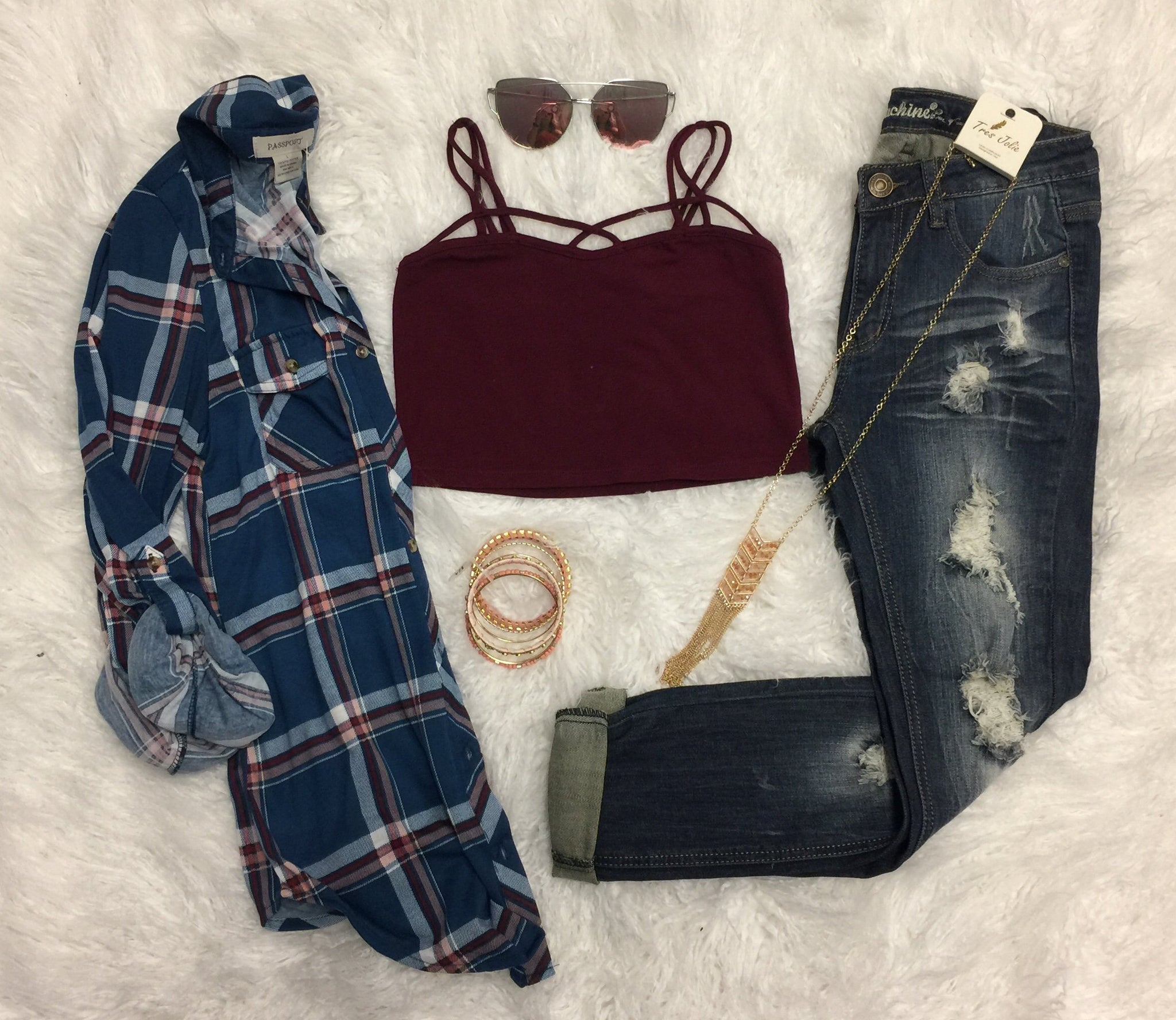 Not So Basic Crop: Burgundy