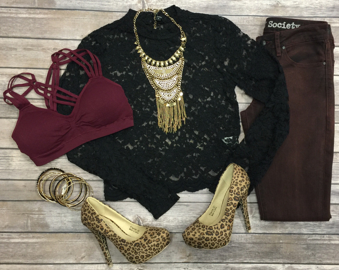 High Rise Lace Crop Top: Black