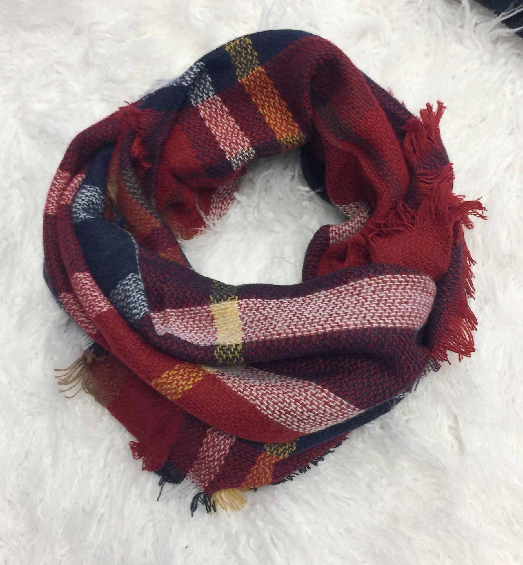 One in a Million Red Multi Plaid Scarf