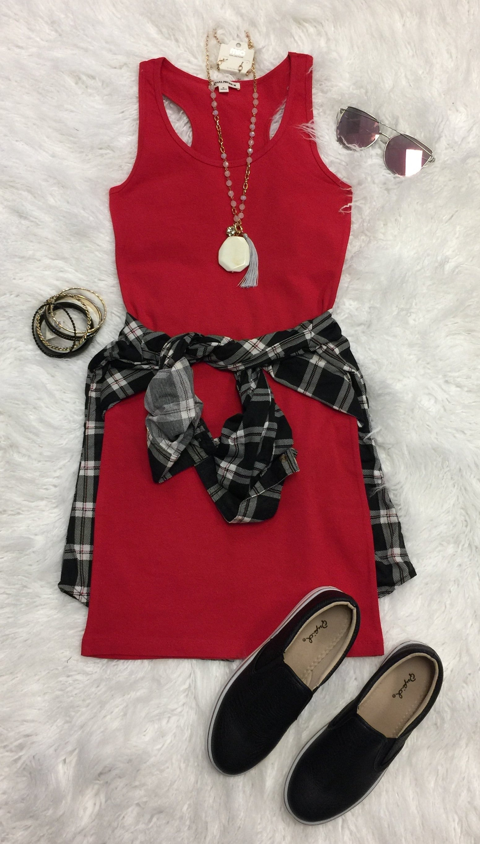 Basic Tank Dress: Red