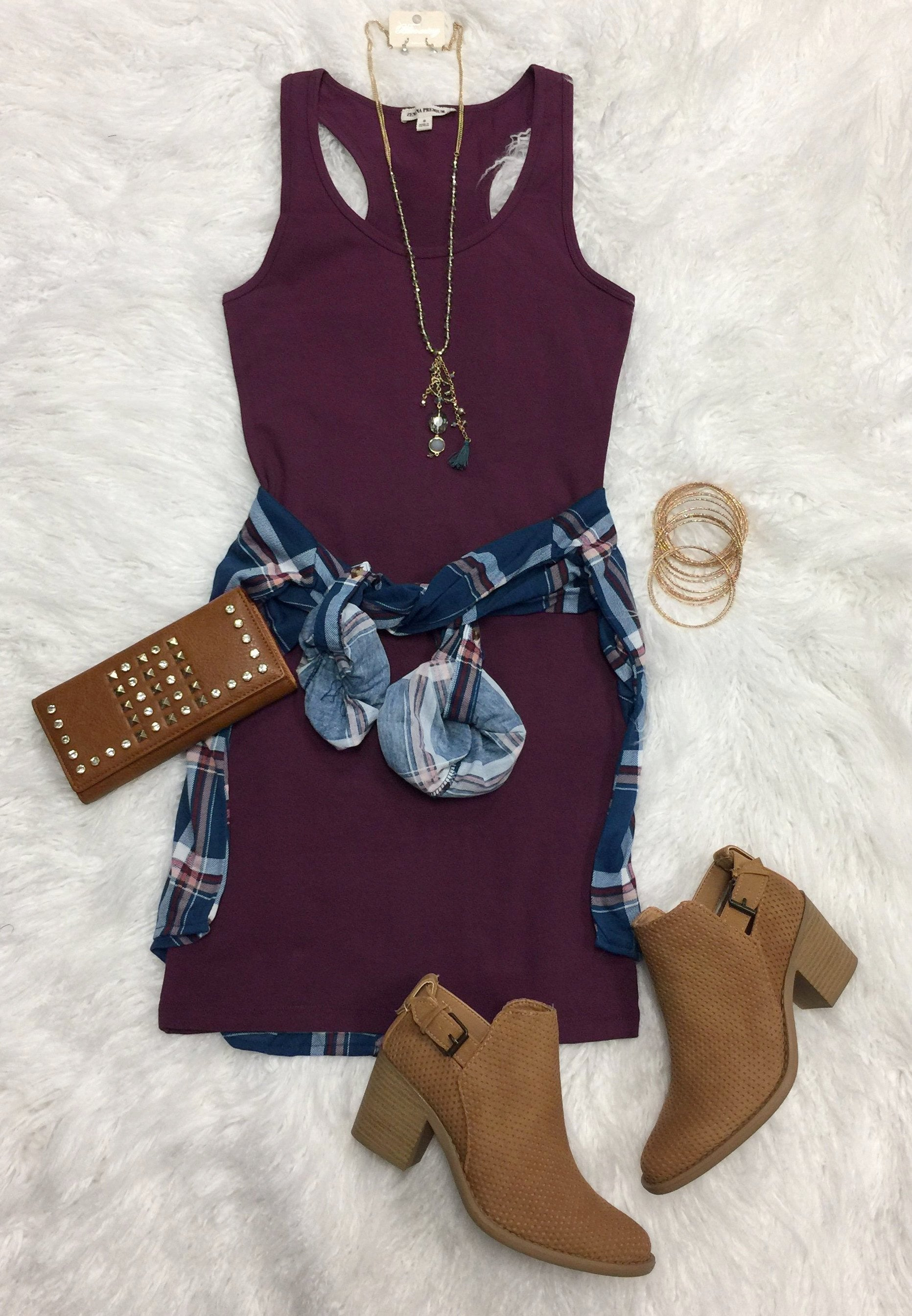 Basic Tank Dress: Plum
