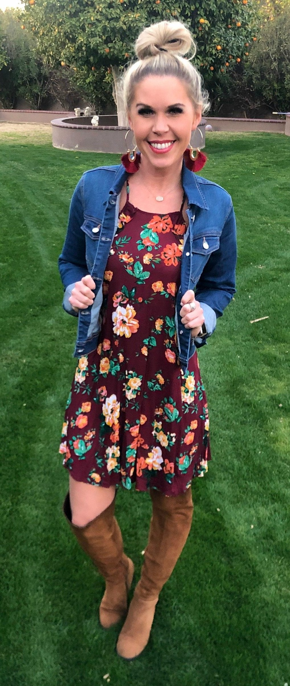 Day Dreaming Floral Dress: Burgundy