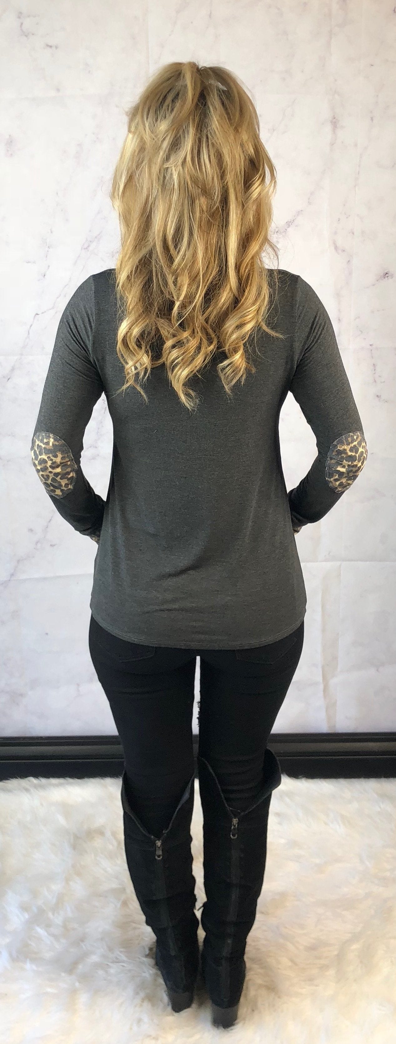 Match it Up Long Sleeve Leopard Elbow Patch Top
