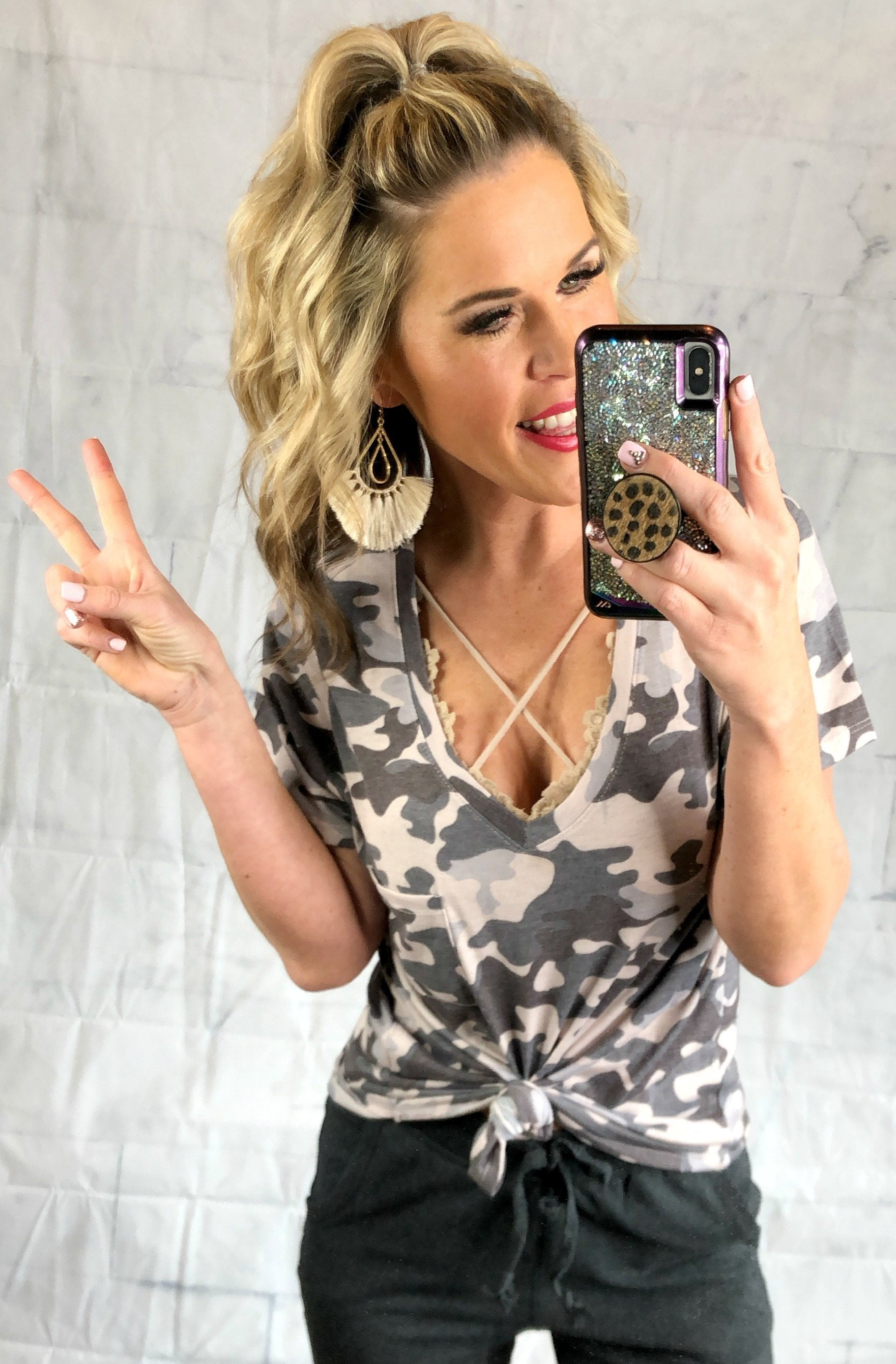 Casual in Camo Top: Grey