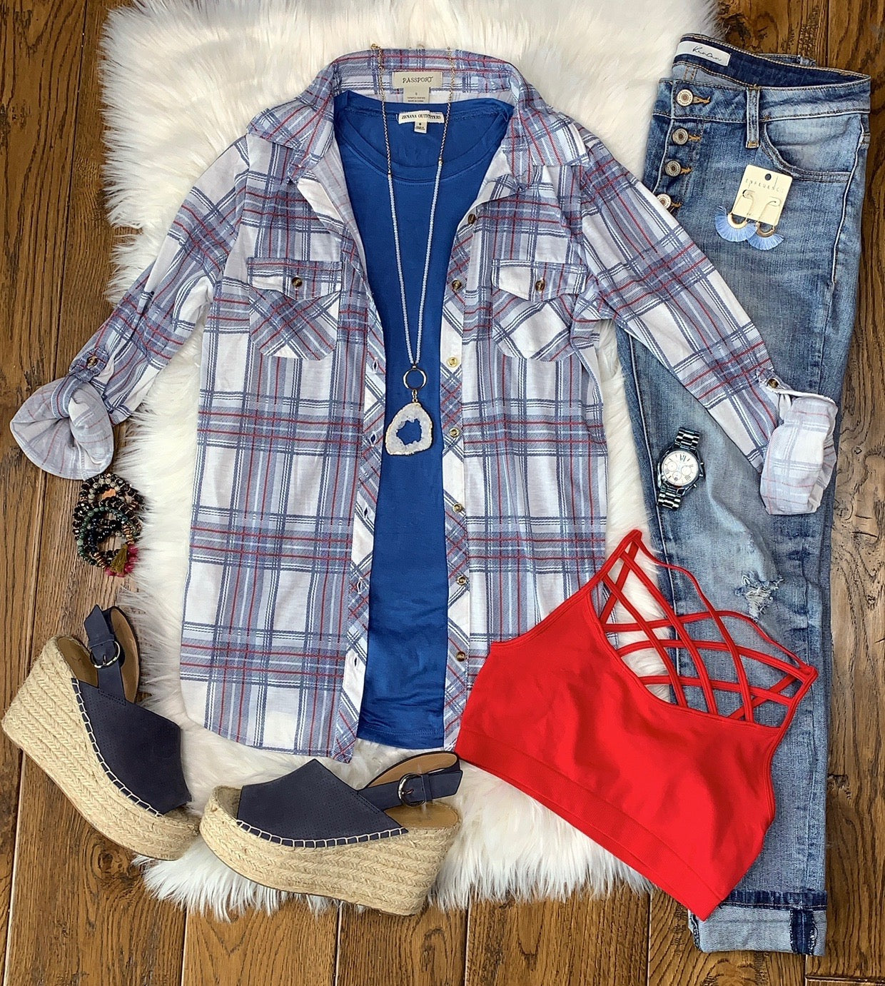 Penny Plaid Flannel Top: Vintage Blue