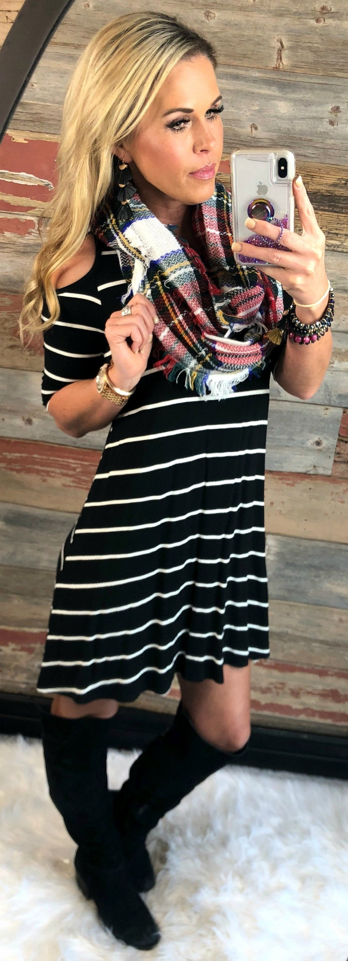 Simple Attraction Striped Cold Shoulder Dress: Black