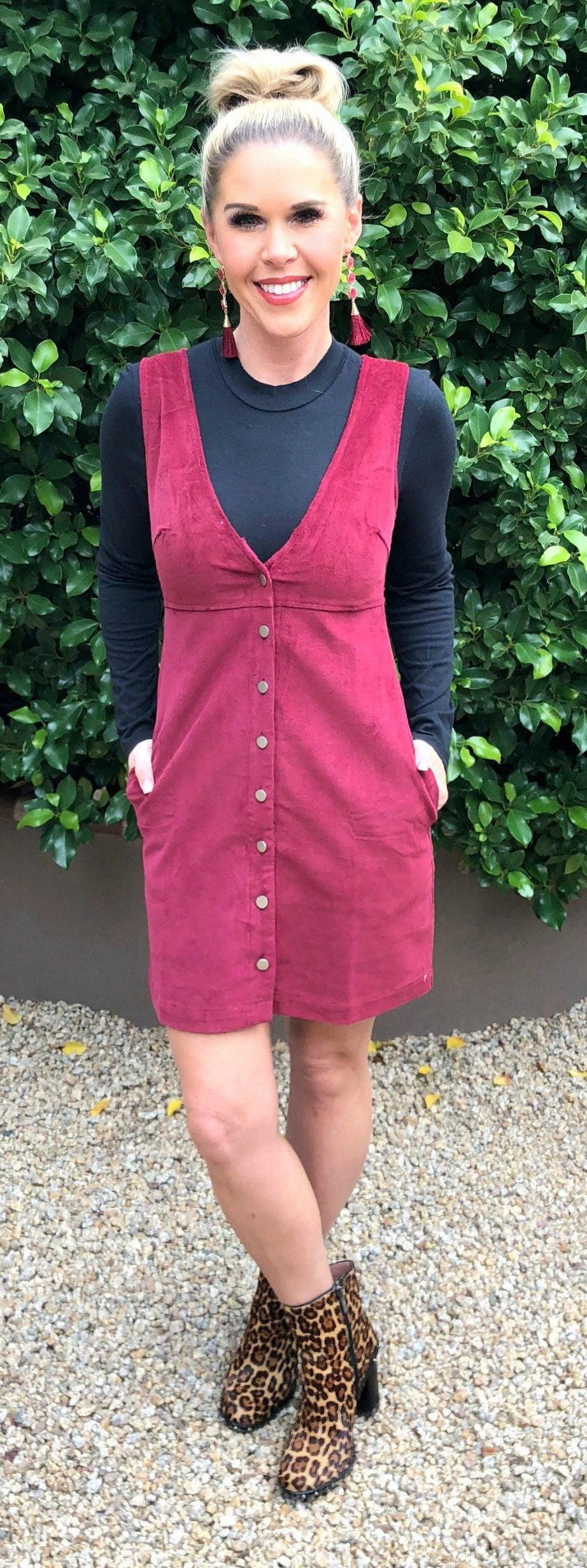 Corduroy Button Up Pocket Dress