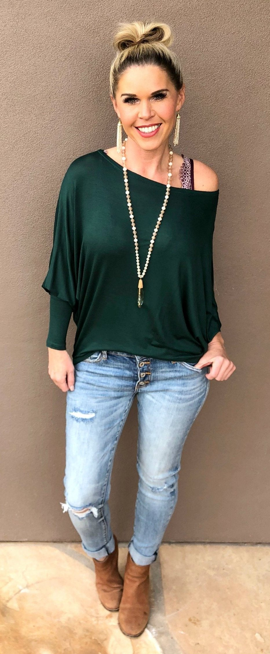Keep It Cold Shoulder Top: Green