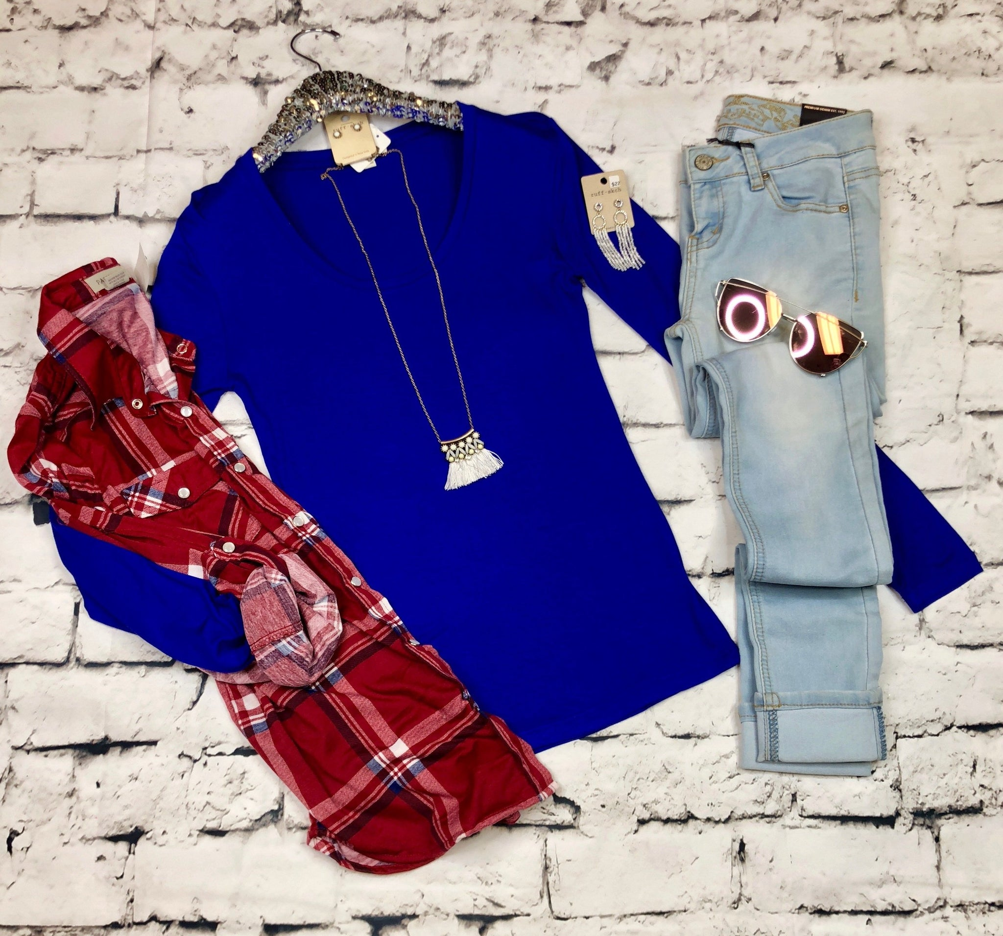 Long Sleeve Basic Scooped Tee: Royal