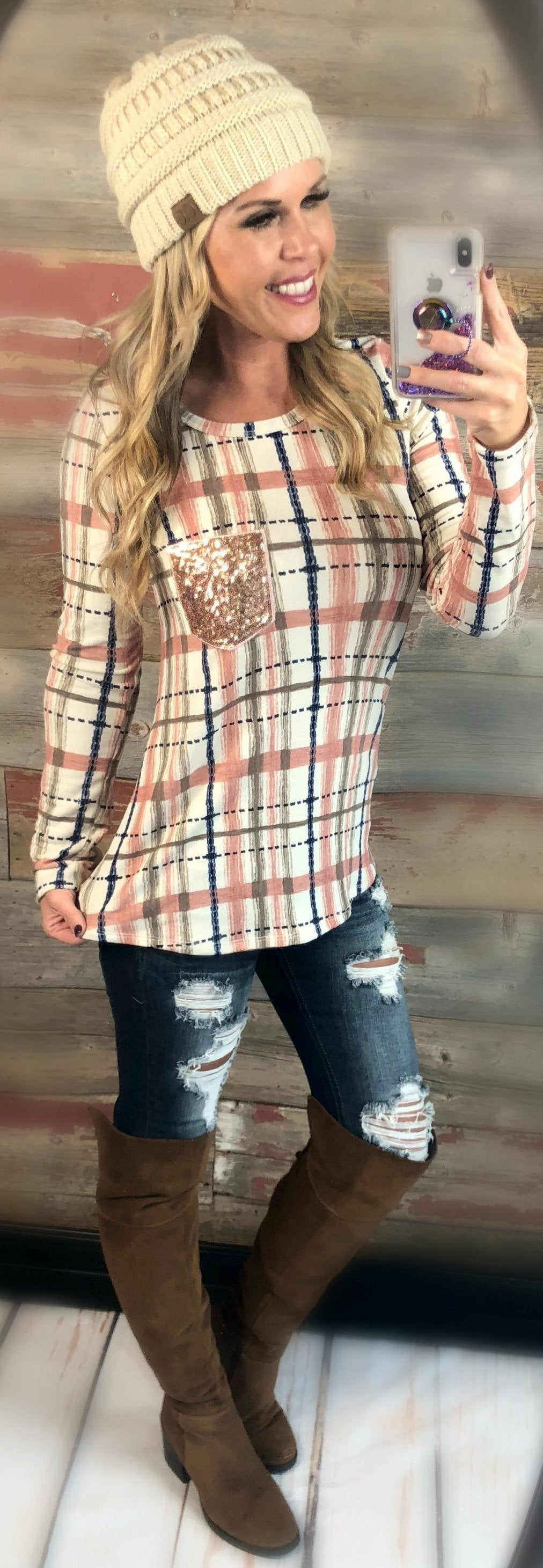 Time Together Sequin Pocket Long Sleeve Plaid Top